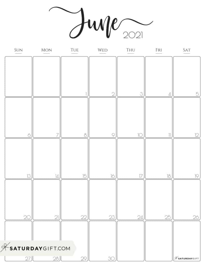 Cute (& Free!) Printable June 2021 Calendar | Saturdaygift