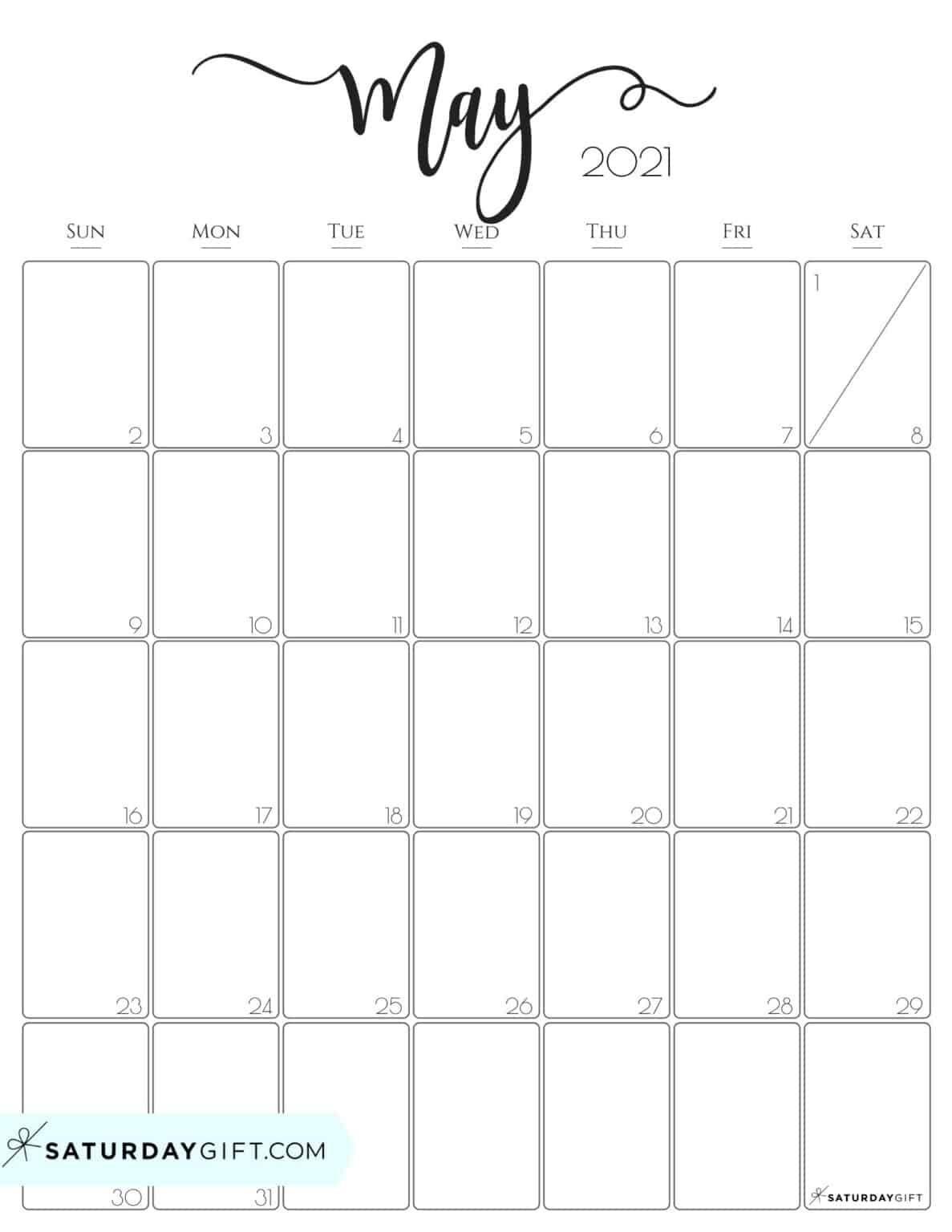 Cute (& Free!) Printable May 2021 Calendar | Saturdaygift In