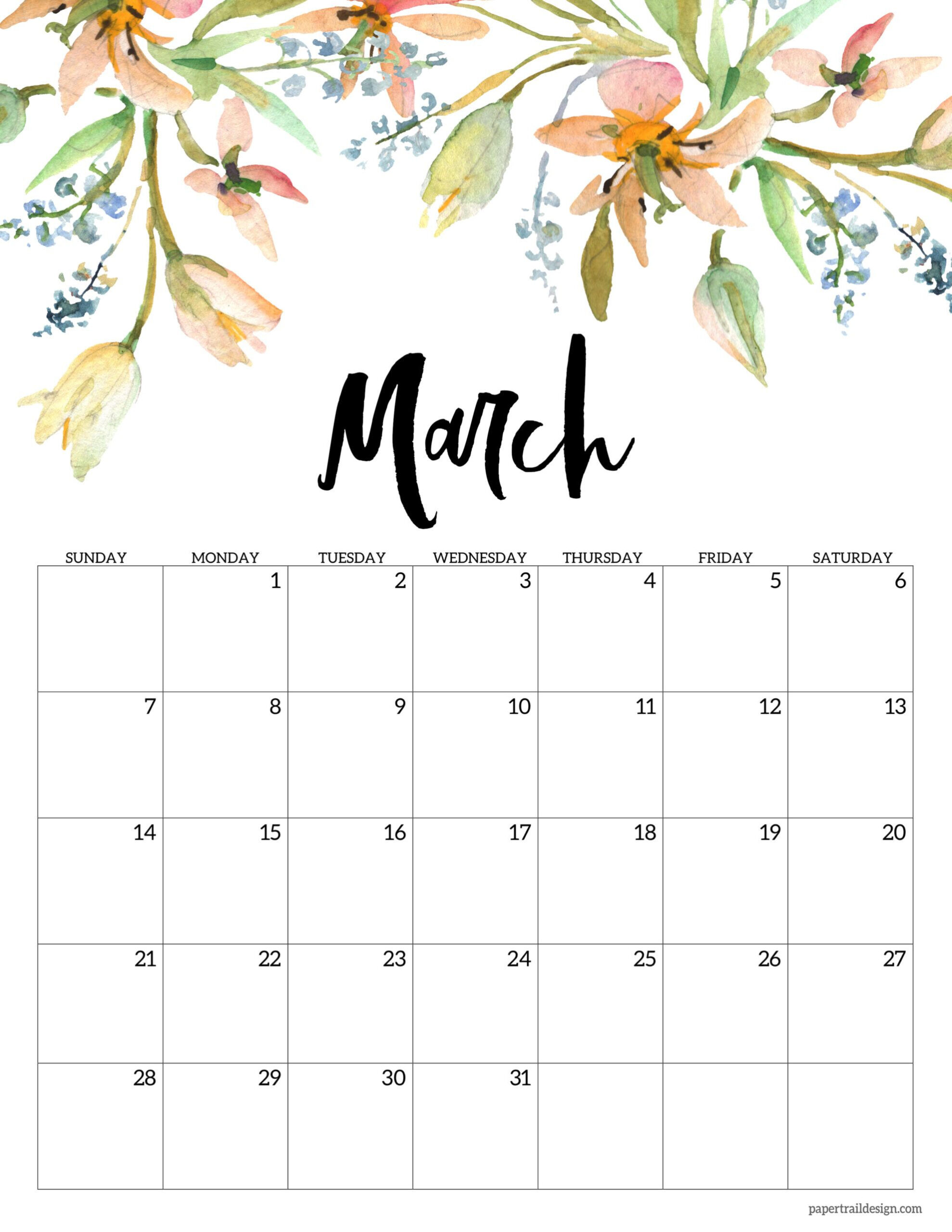 Cute March 2021 Floral Calendar In 2020 | Monthly Calendar