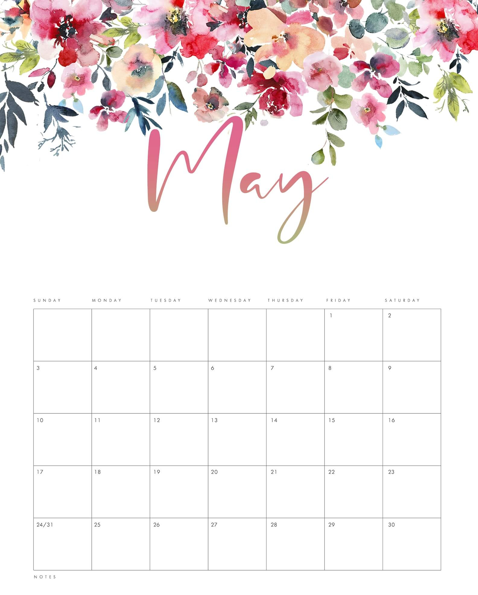 Cute May 2020 Calendar Template For Manage Your Business And