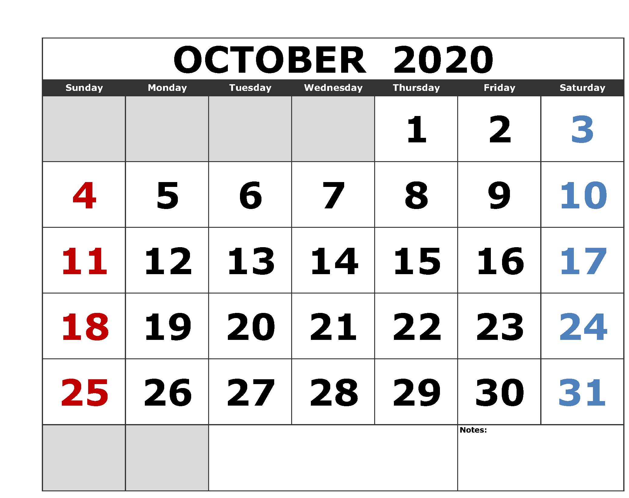 Cute October 2020 Calendar For School And College Exam In