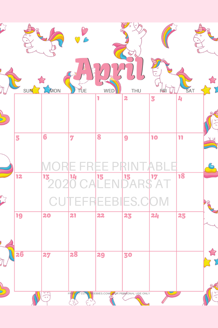 Cute Unicorn 2021 Calendar - Free Printable! - Cute Freebies