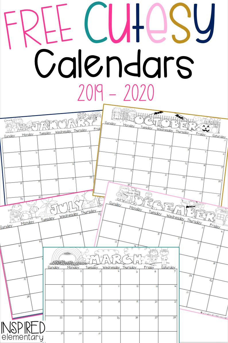 Cutesy Calendar Freebie! · Inspired Elementary | Preschool