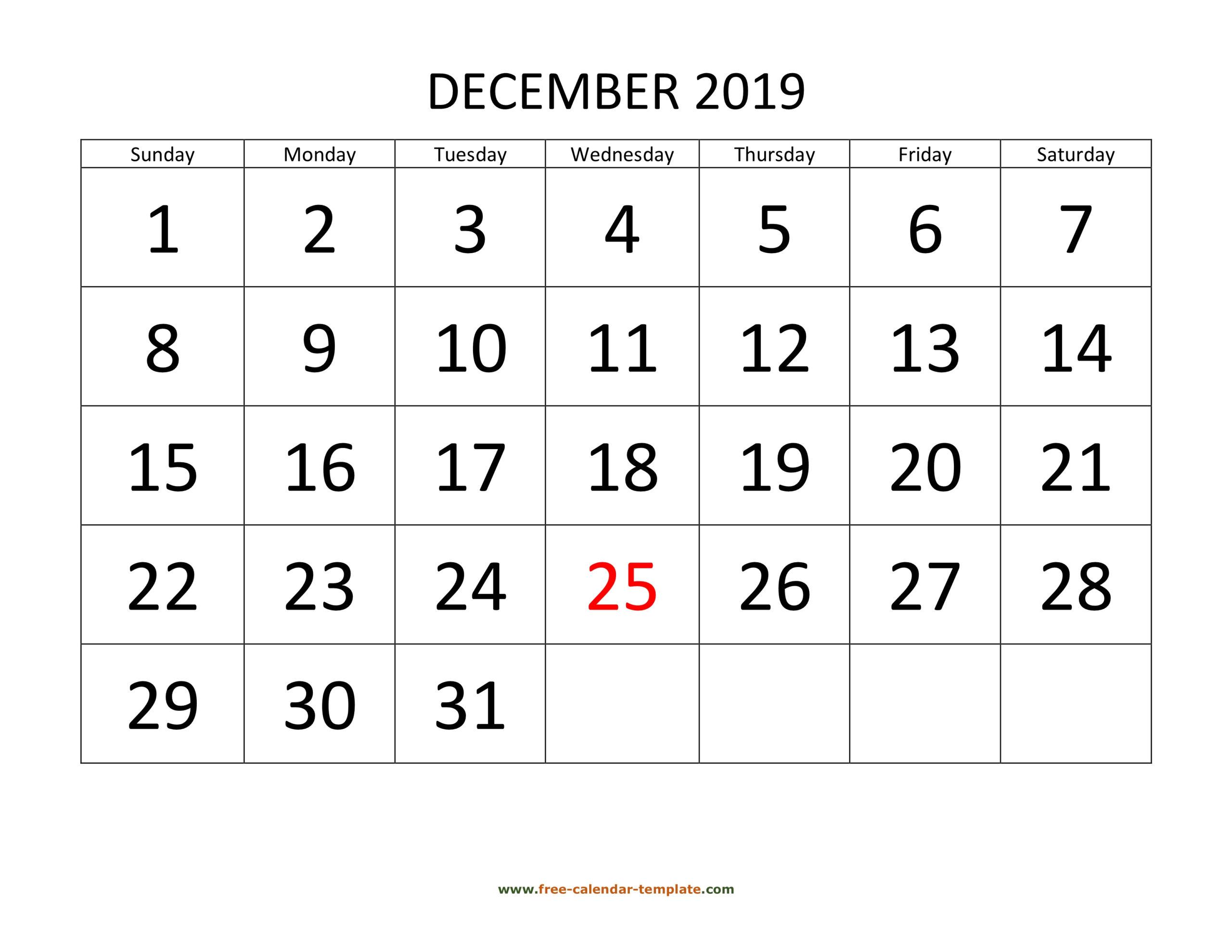 December 2019 Free Calendar Tempplate   Free-Calendar