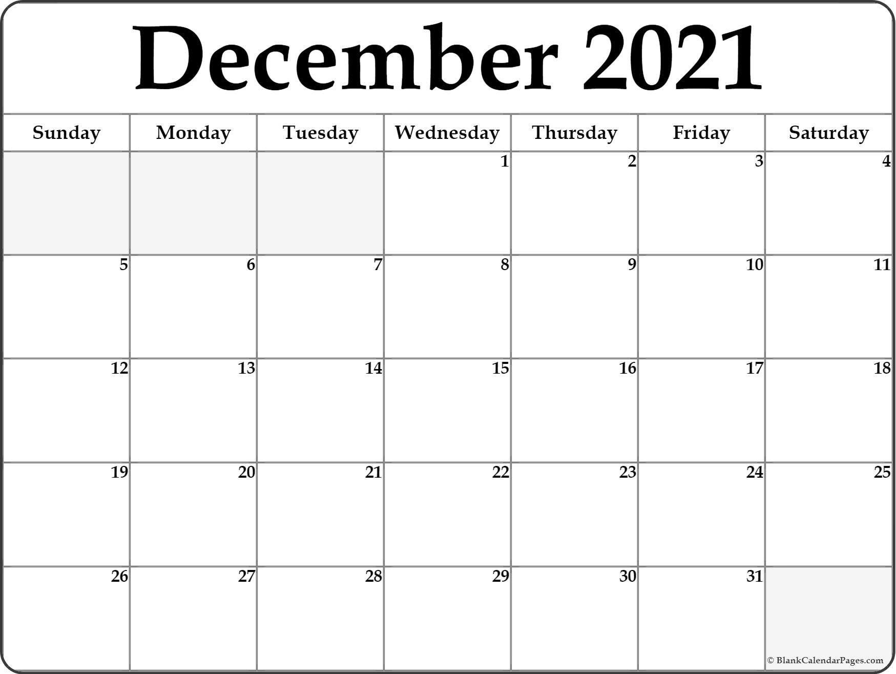 December 2021 Blank Calendar Templates December 2021 Blank
