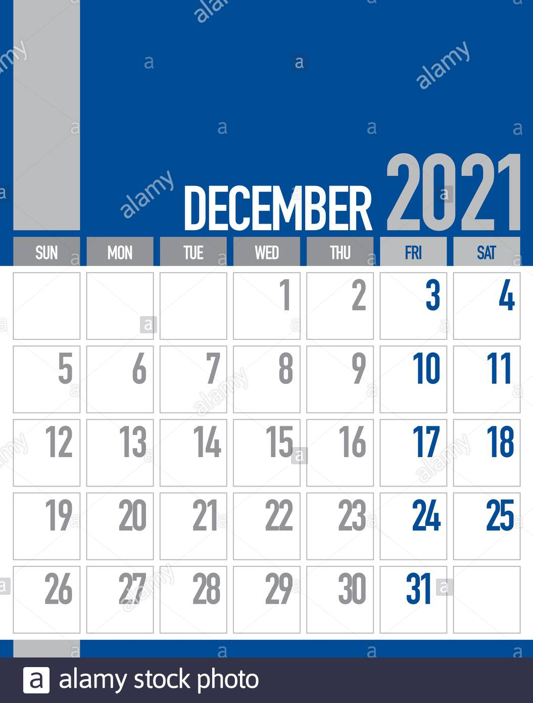 December 2021 Business Planner Calendar Stock Photo - Alamy
