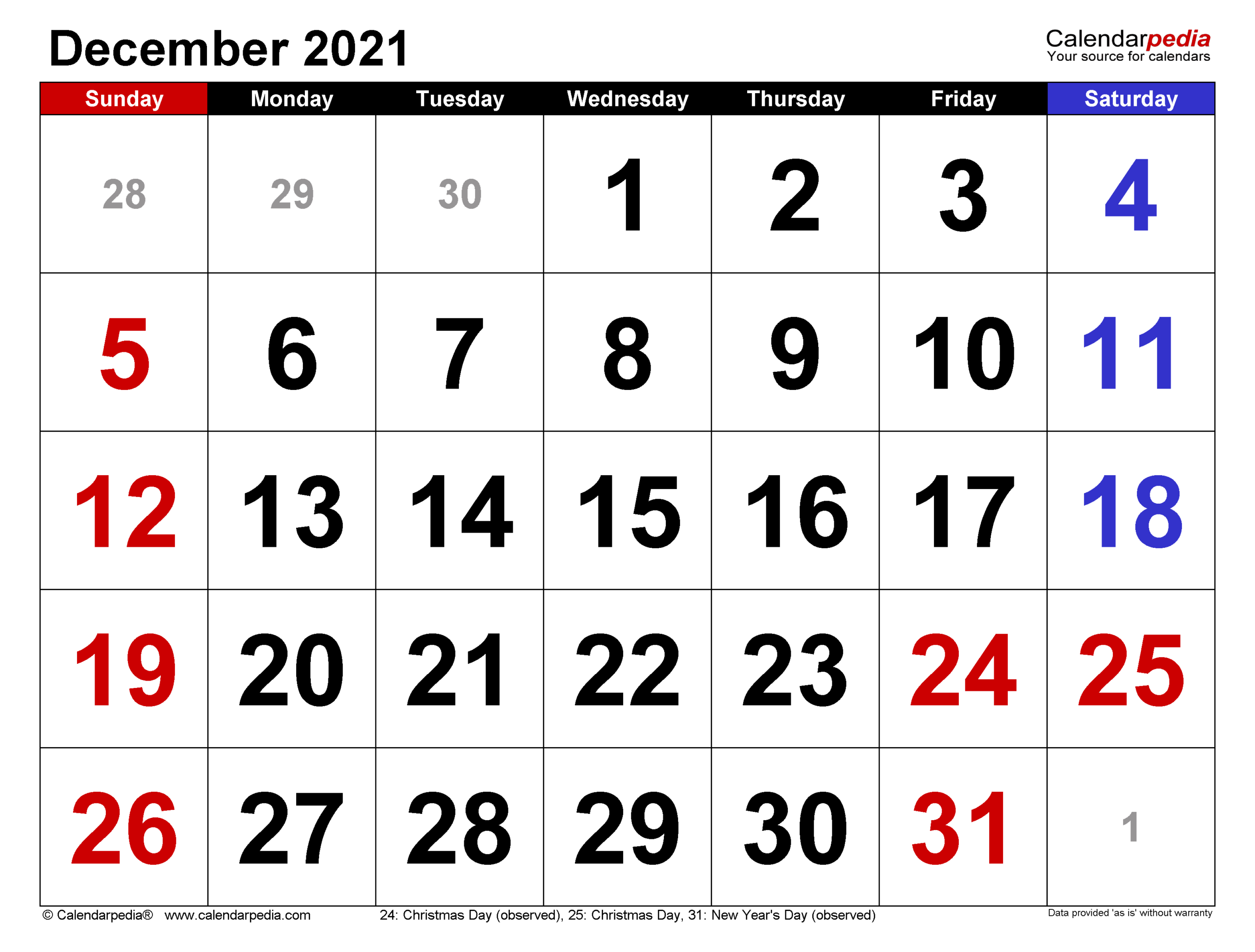 December 2021 Calendar | Templates For Word Excel And Pdf