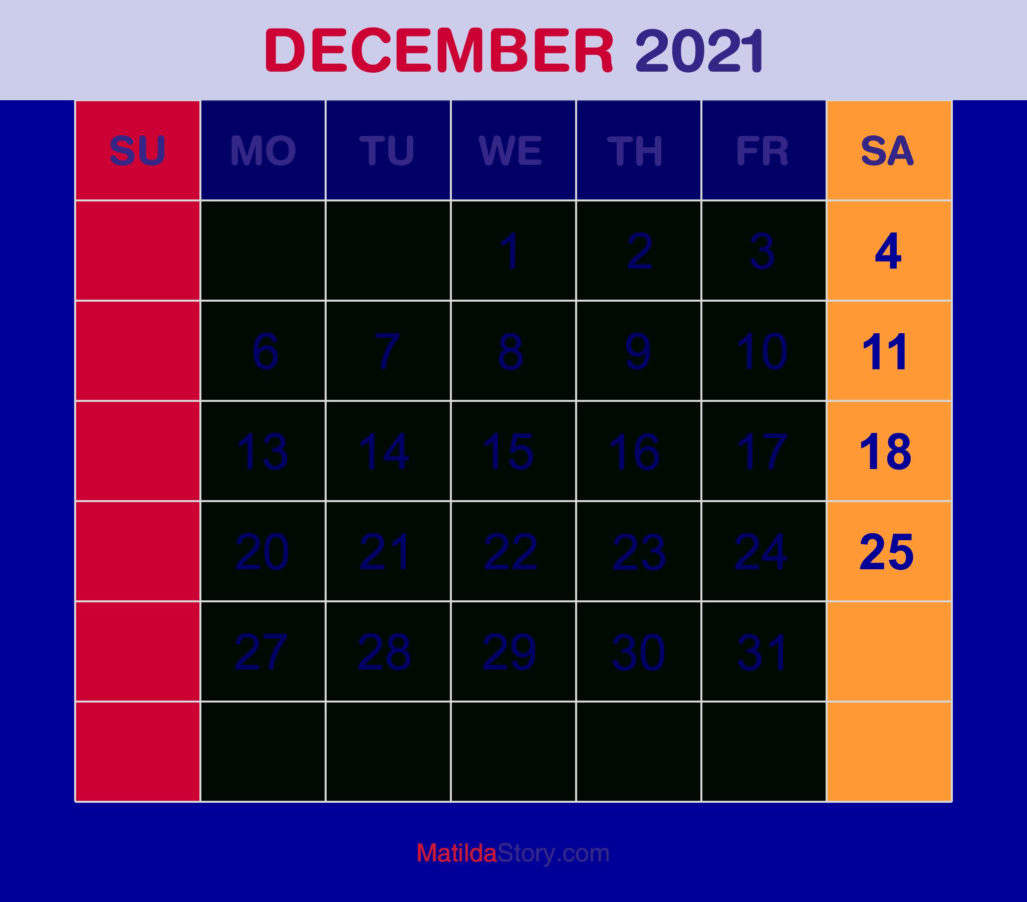 December 2021 Monthly Calendar Monthly Planner Printable