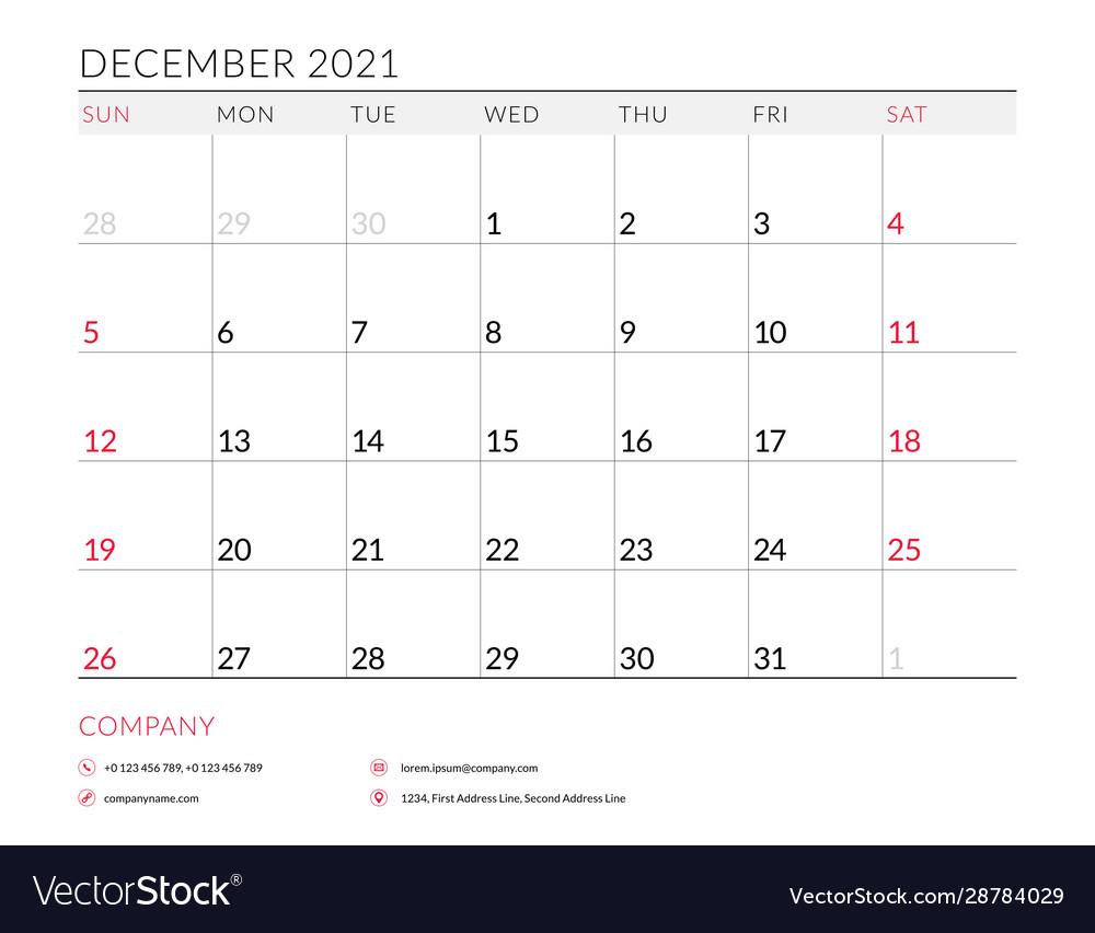 December 2021 Monthly Calendar Planner Printable Vector Image