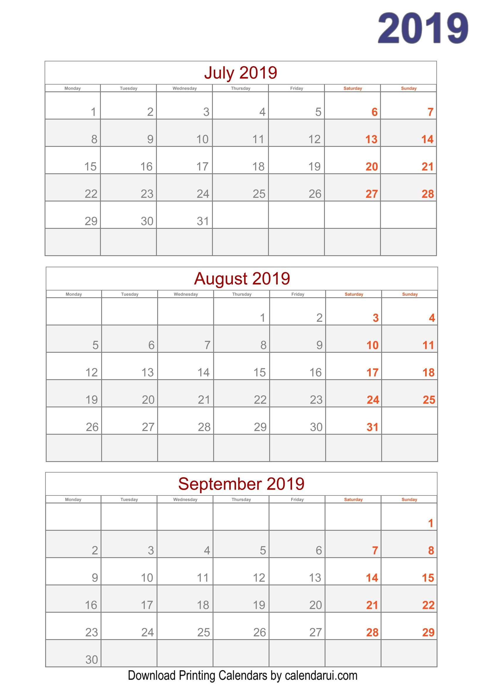 Download 2019 Quarterly Calendar Printable For Free