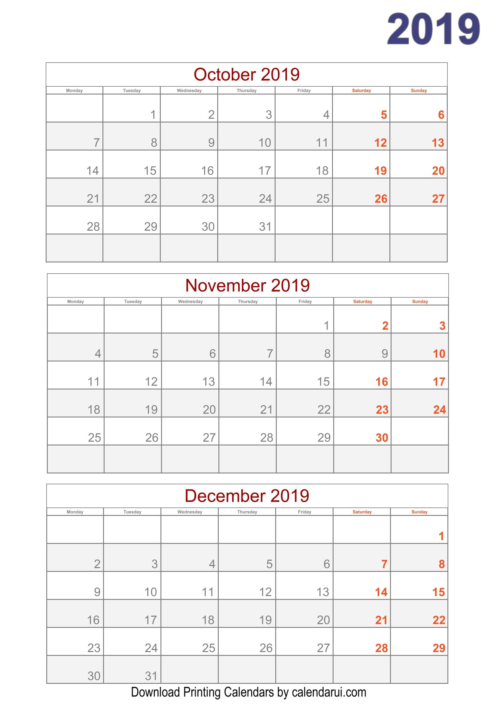 Download 2019 Quarterly Calendar Printable For Free