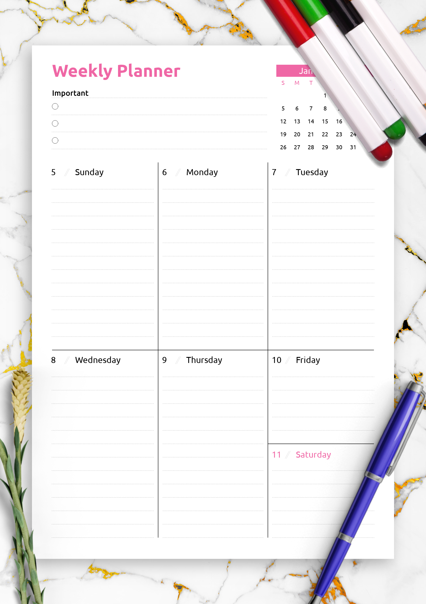 Download Printable Colored One-Page Weekly Planner Pdf
