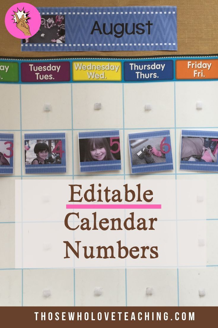 Editable Calendar Numbers 1-31 Add Your Own Pictures