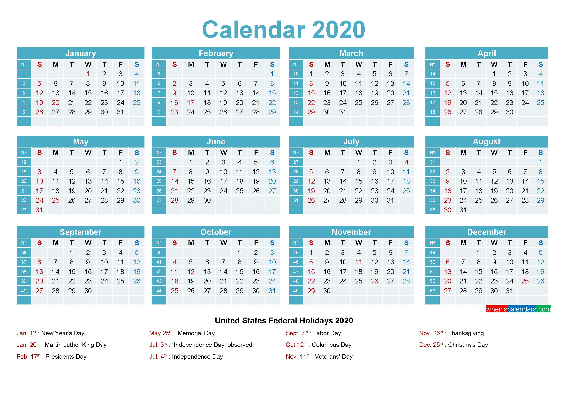 Editable Calendar Template 2020 - Template No.ep20Y12 - Free
