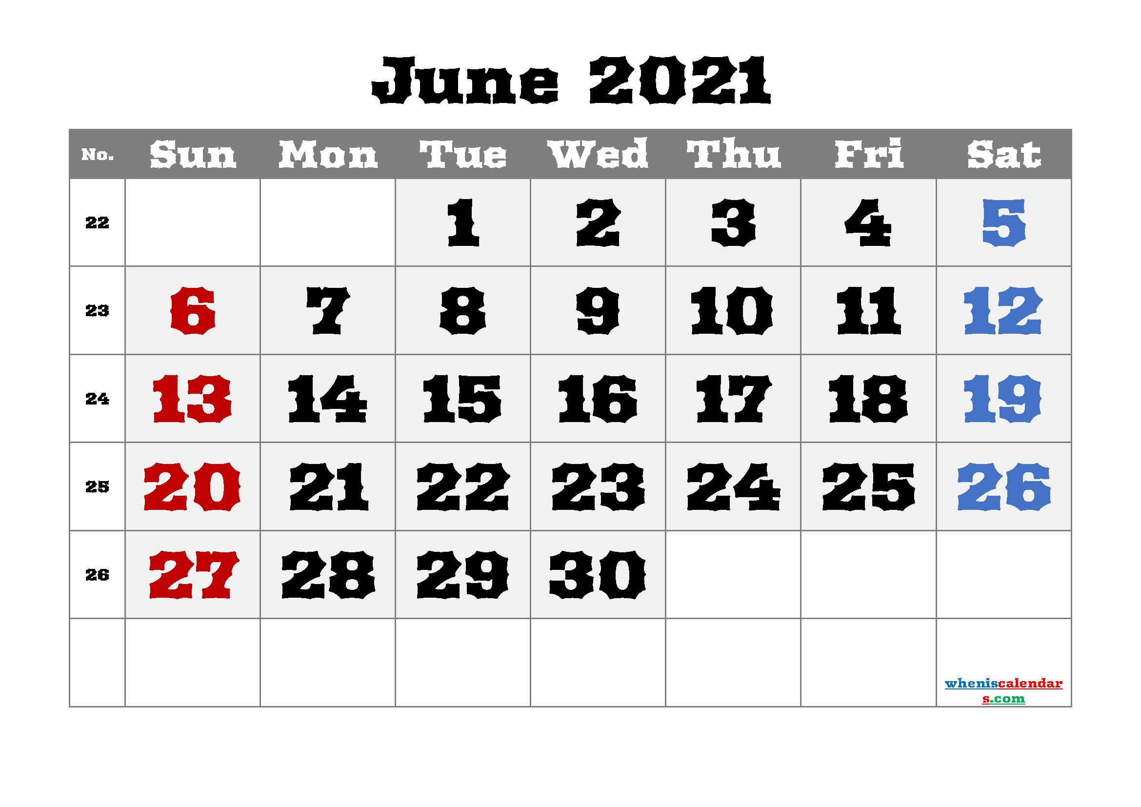 Editable June 2021 Calendar | Template M21Arbutus3 In 2020