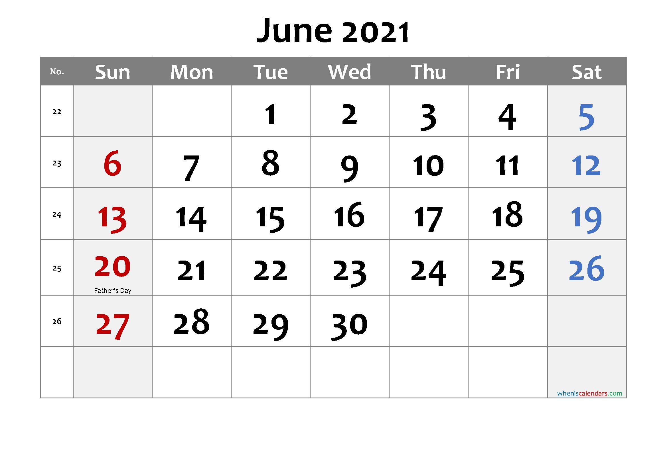 Editable June 2021 Calendar-Template No.cd21M18 – Free 2020