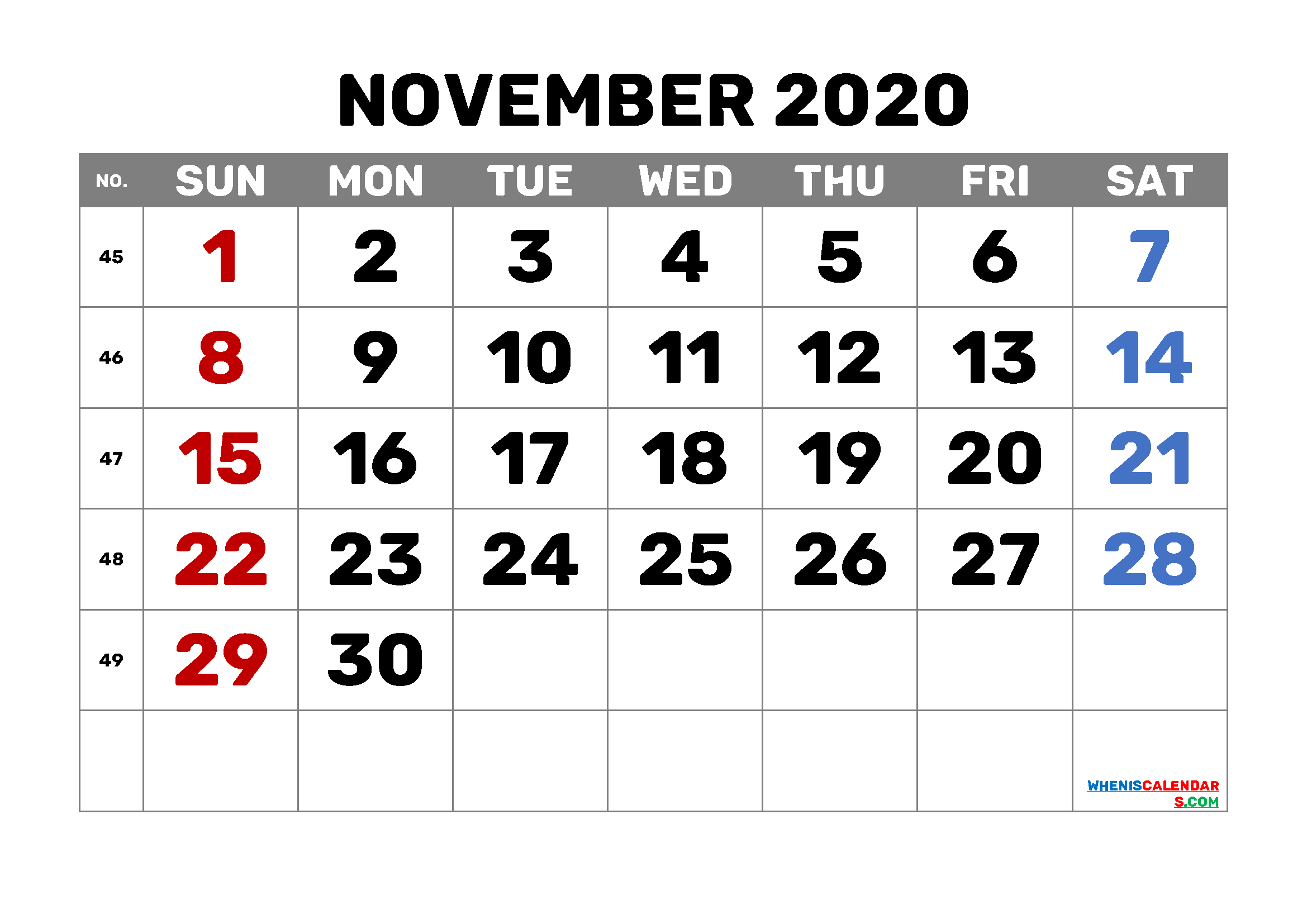 Editable November 2020 Calendar Template M20Bold1 In 2020