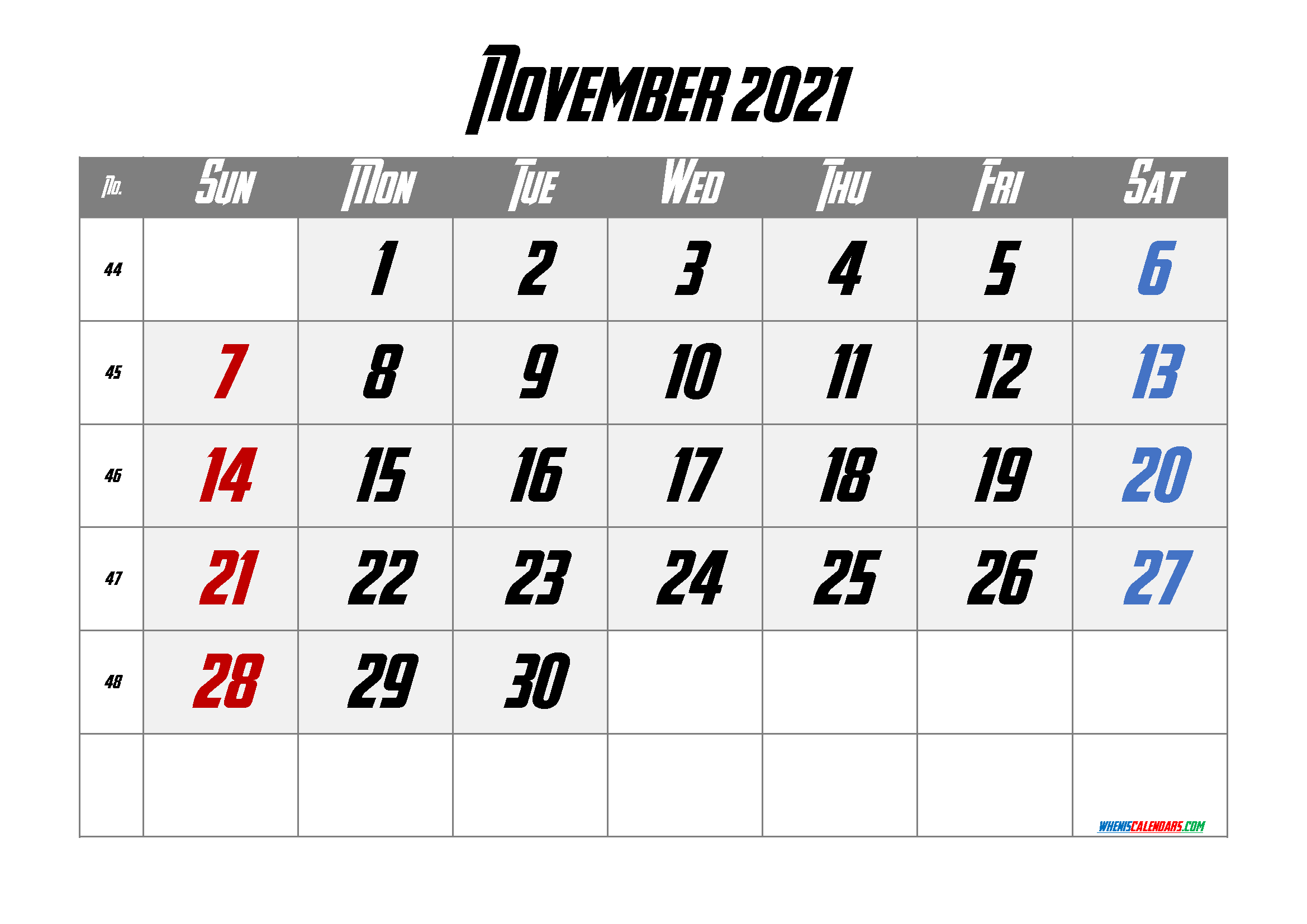 Editable November 2021 Calendar | Template M21Avengeance3