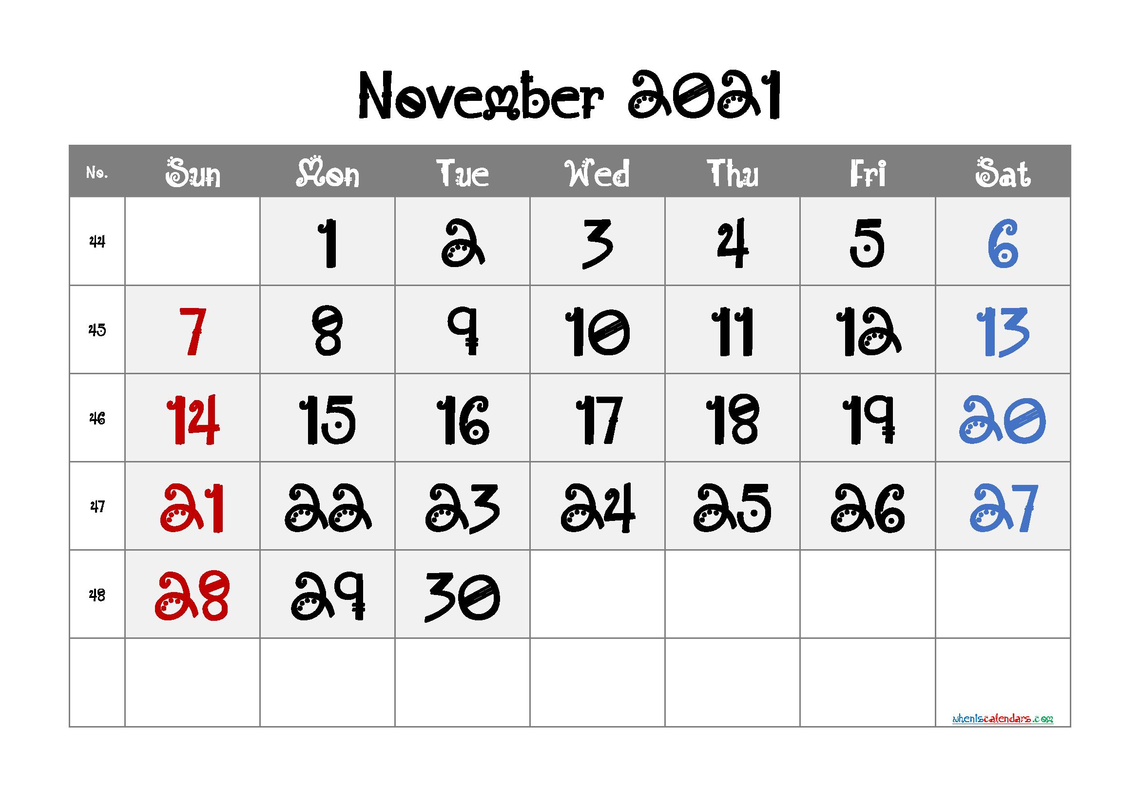 Editable November 2021 Calendar | Template