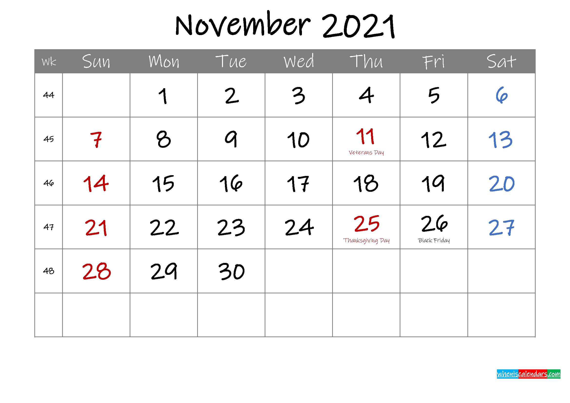 Editable November 2021 Calendar With Holidays-Template No