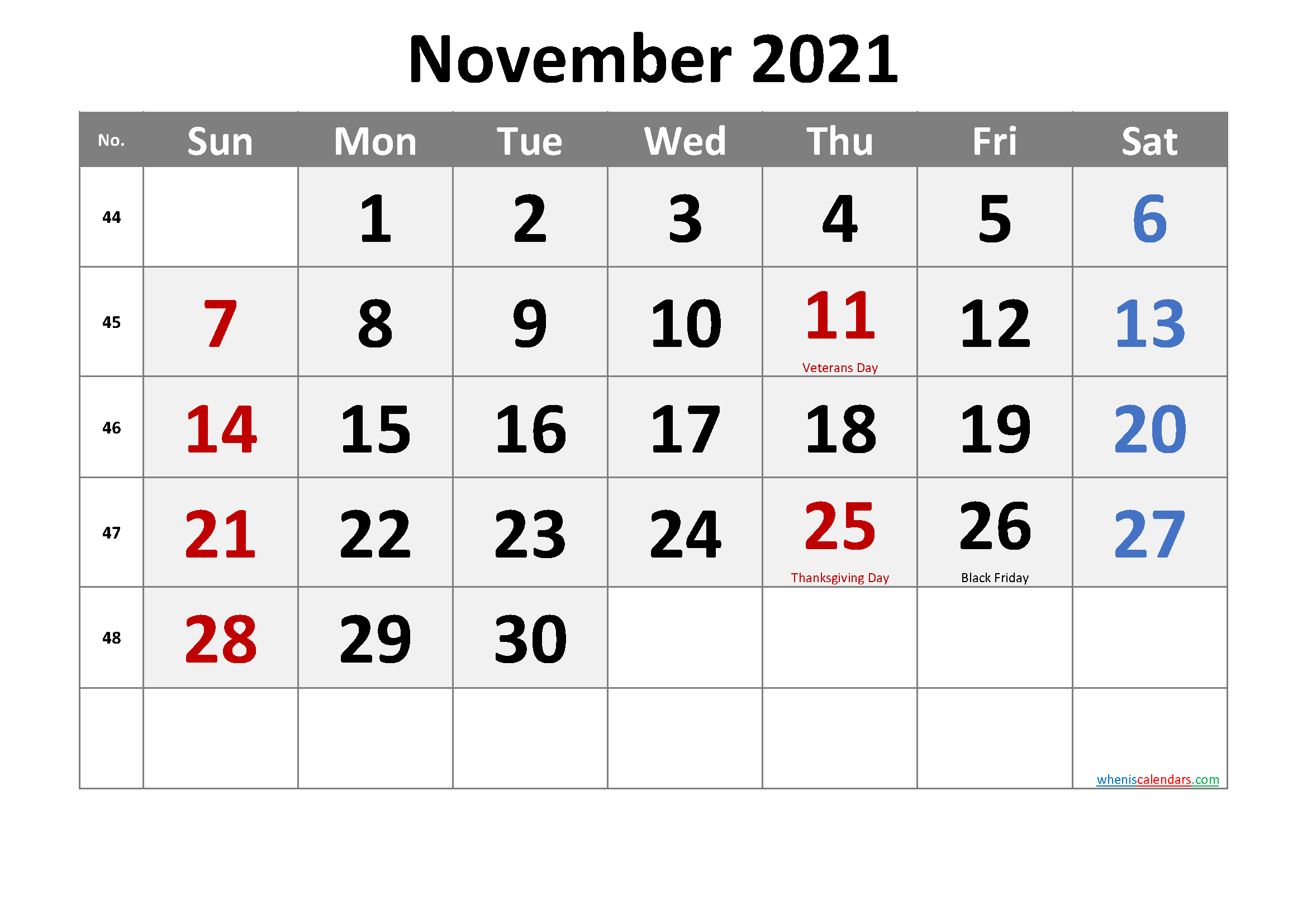 Editable November 2021 Calendar Word-Template No.cr21M71