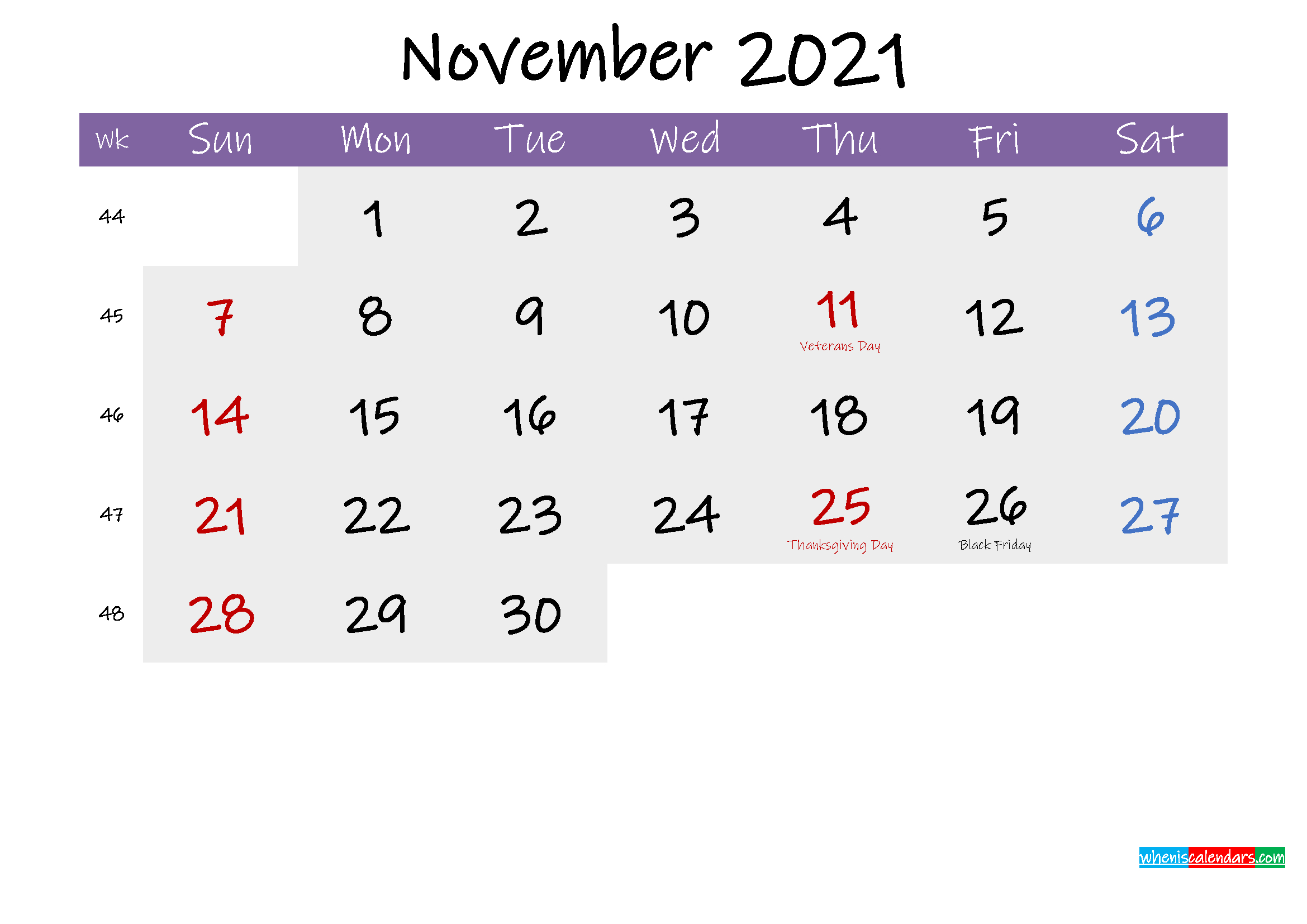 Editable November 2021 Calendar Word-Template No.if21M227