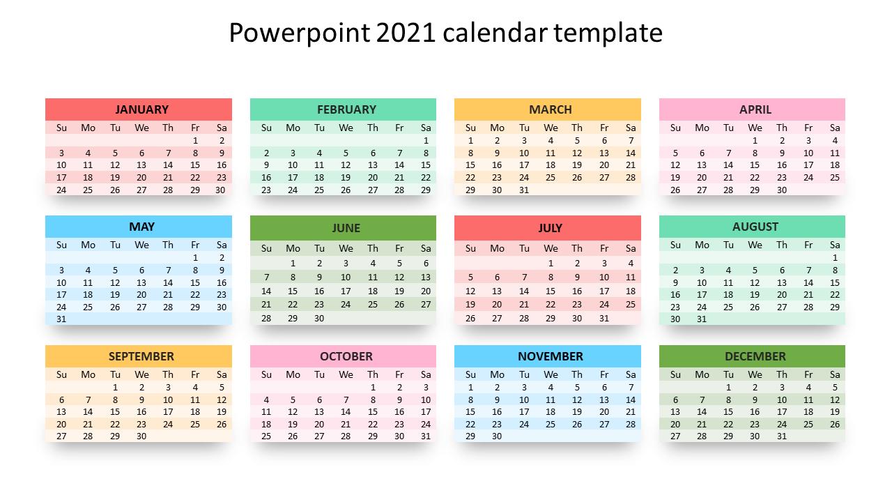 Editable Powerpoint 2021 Calendar Template