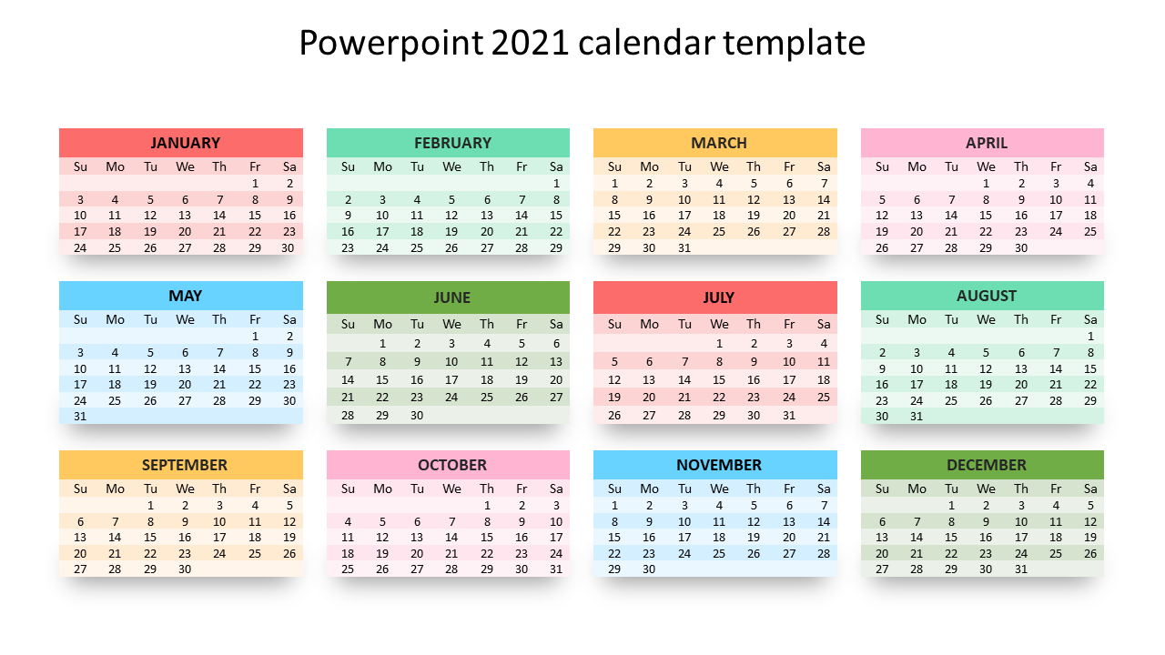 Editable Powerpoint 2021 Calendar Template