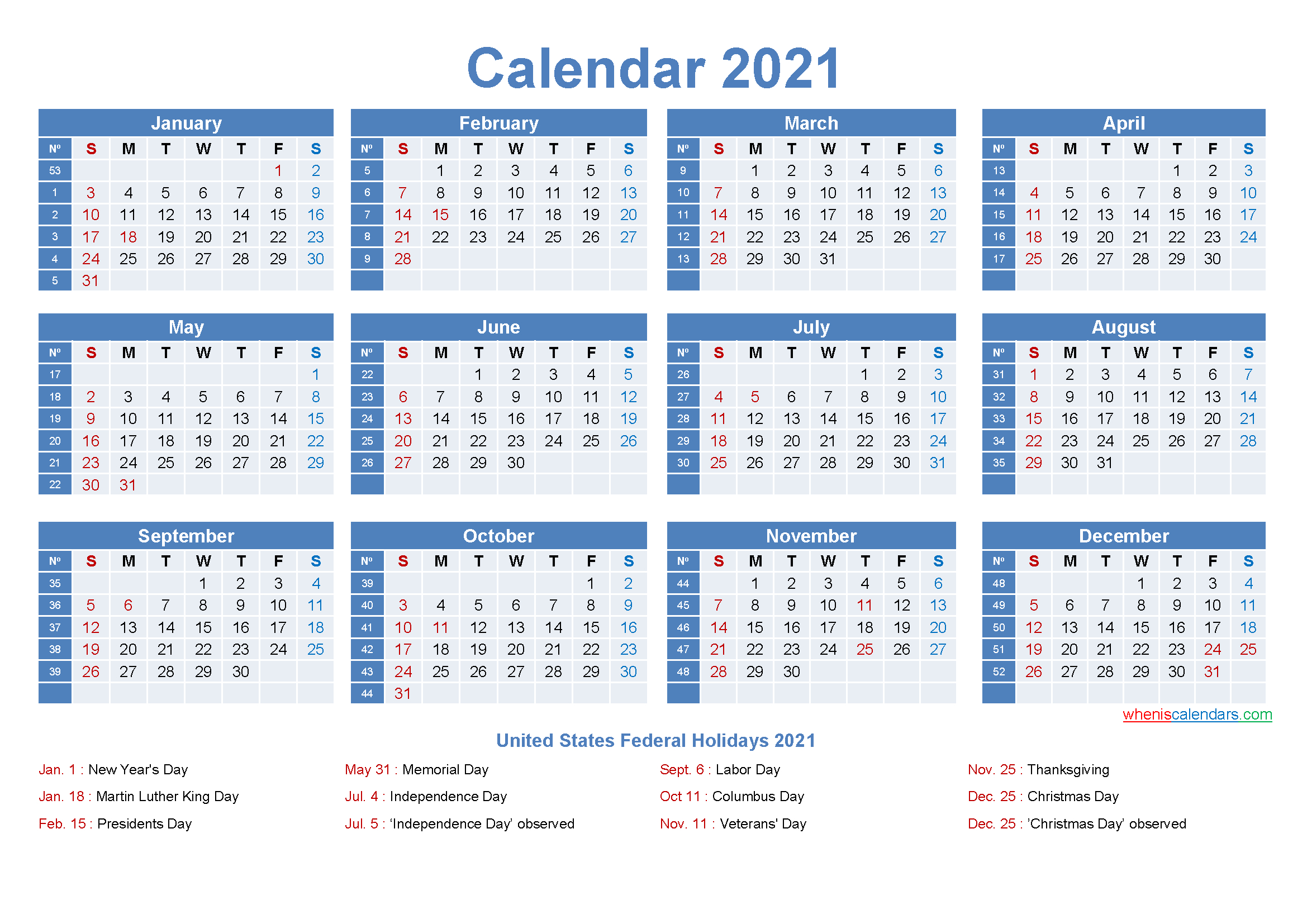 Editable Printable Calendar 2021 Word - Template No.ep21Y8