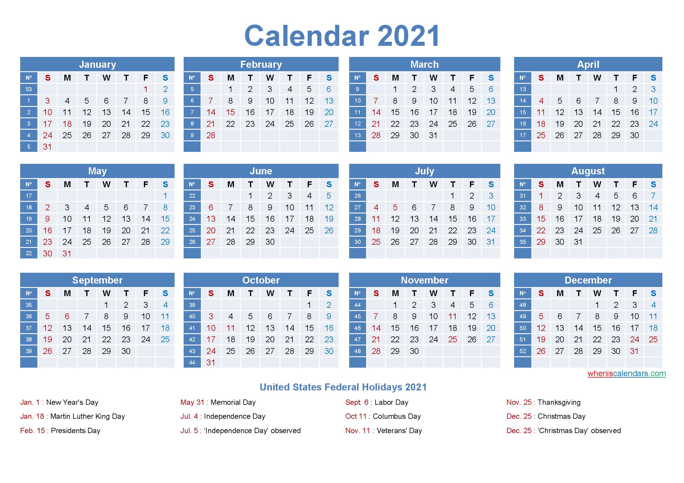 Editable Printable Calendar 2021 Word - Template No.ep21Y8