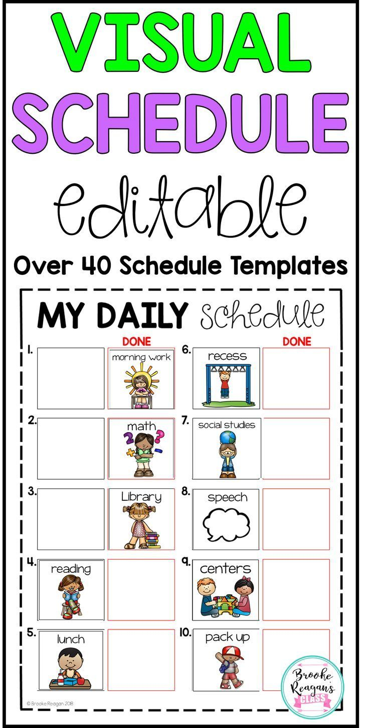 Editable Visual Schedule For Students With Completion Column