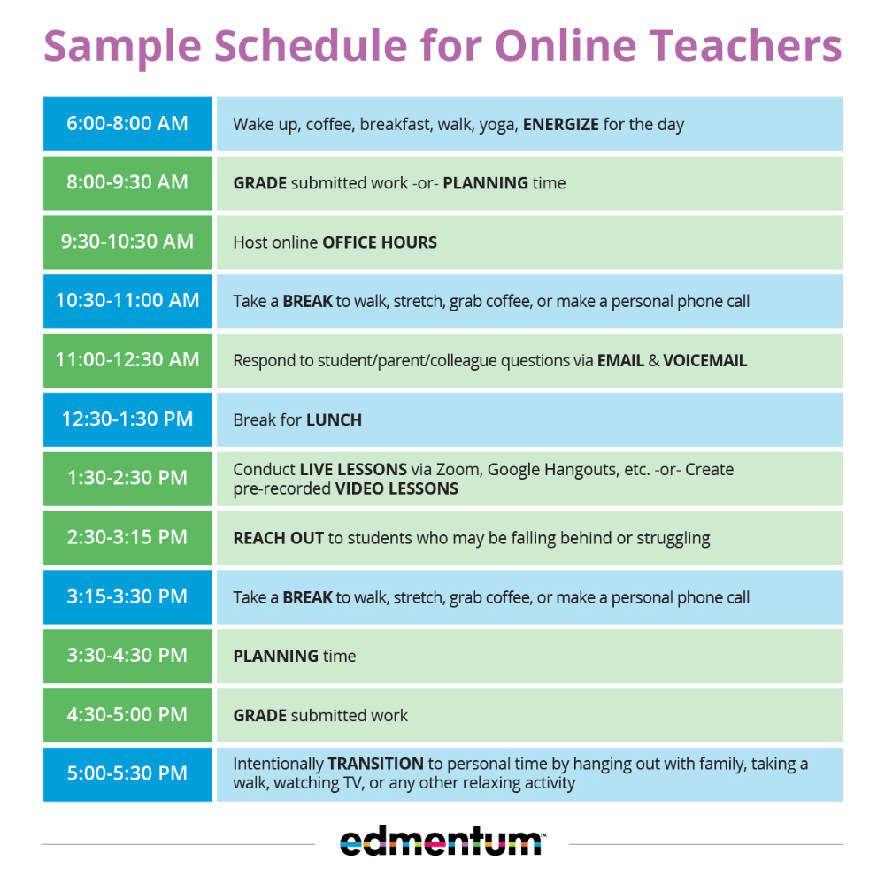 Edmentum Virtual Teacher Schedule Sample In 2020 | Online