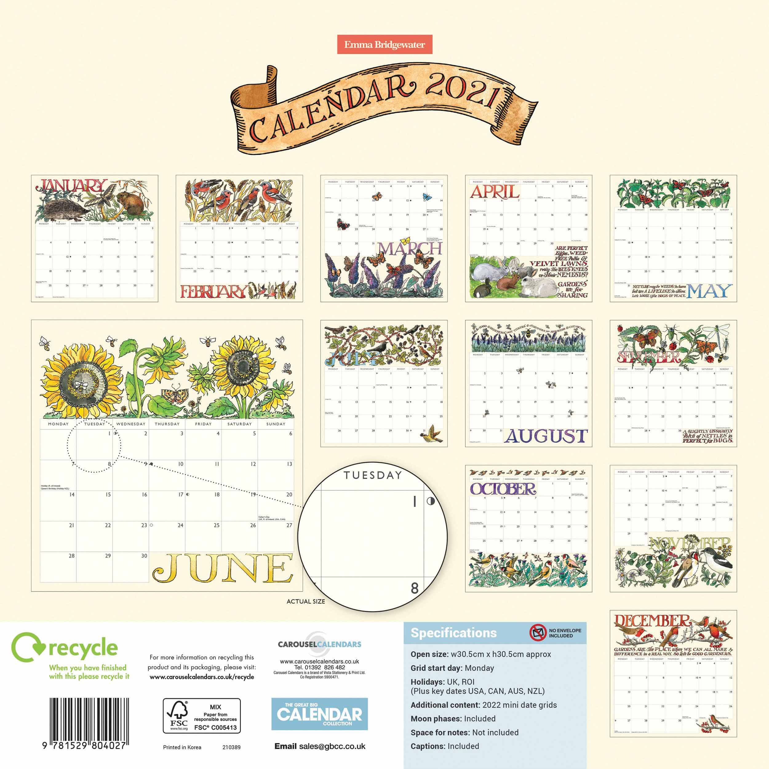 Emma Bridgewater Good Gardening Calendar 2021 At Calendar Club