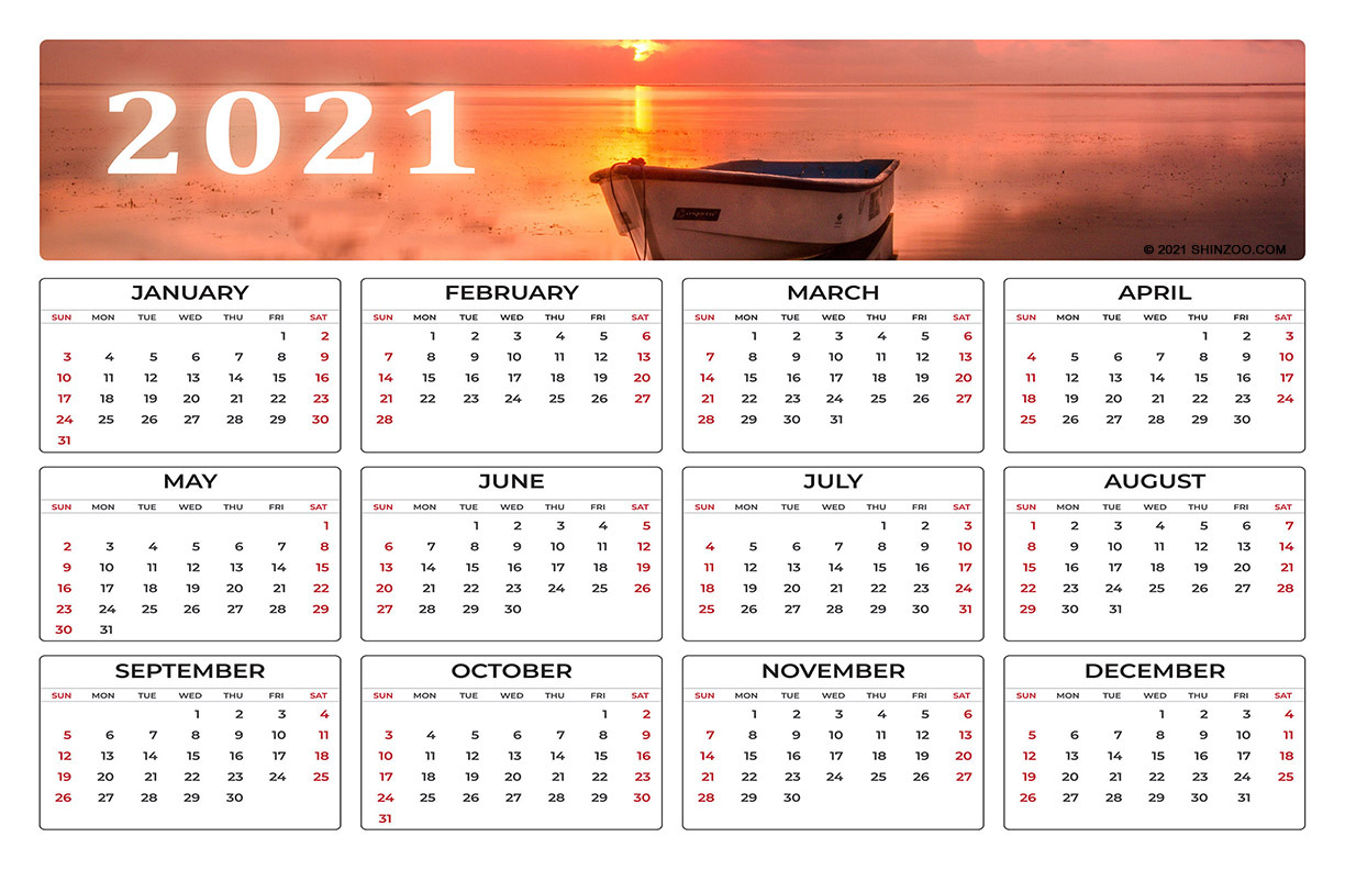 Empty Boat In The Water: 2021 Calendar 11X17 Printable Template