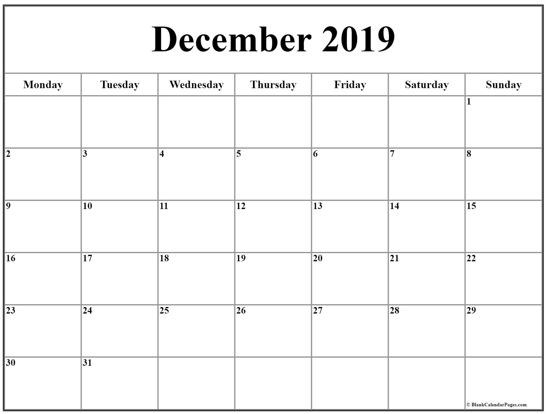 Exceptional Blank Calendar Starting On Monday In 2020