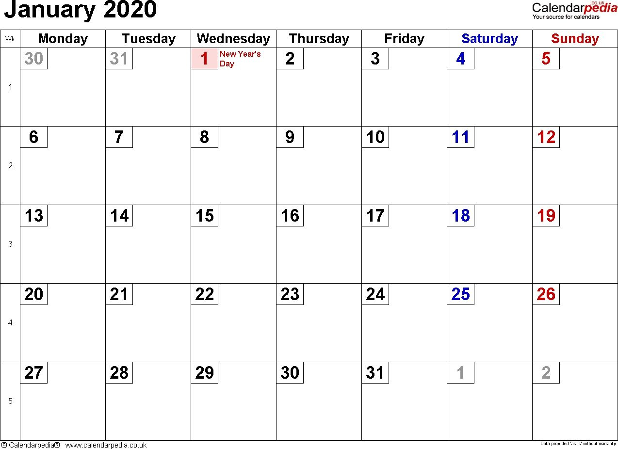 Exceptional January 2020 Calendar With Holidays In 2020