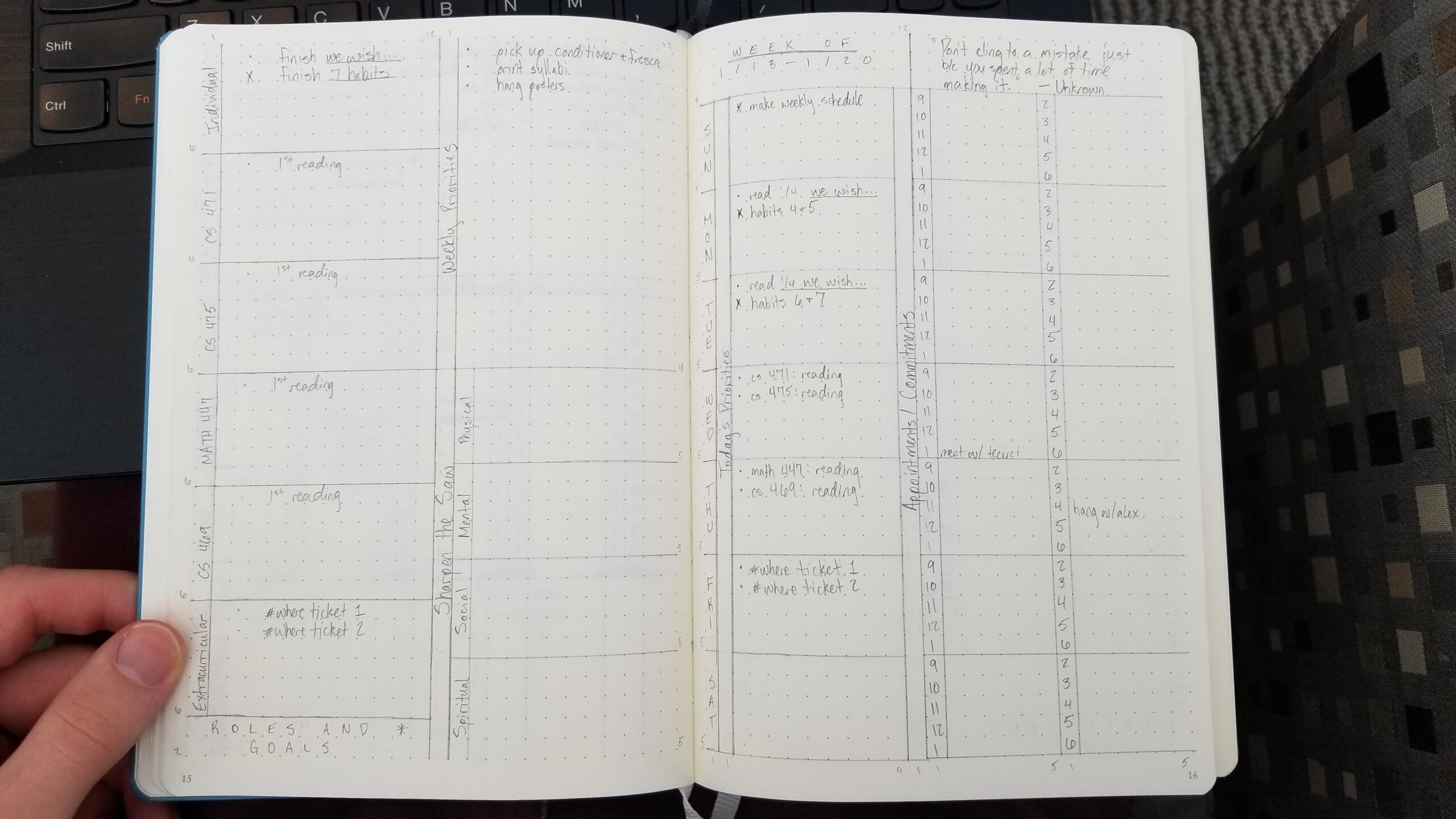 Experimenting With A Franklin Covey-Inspired Weekly Planner