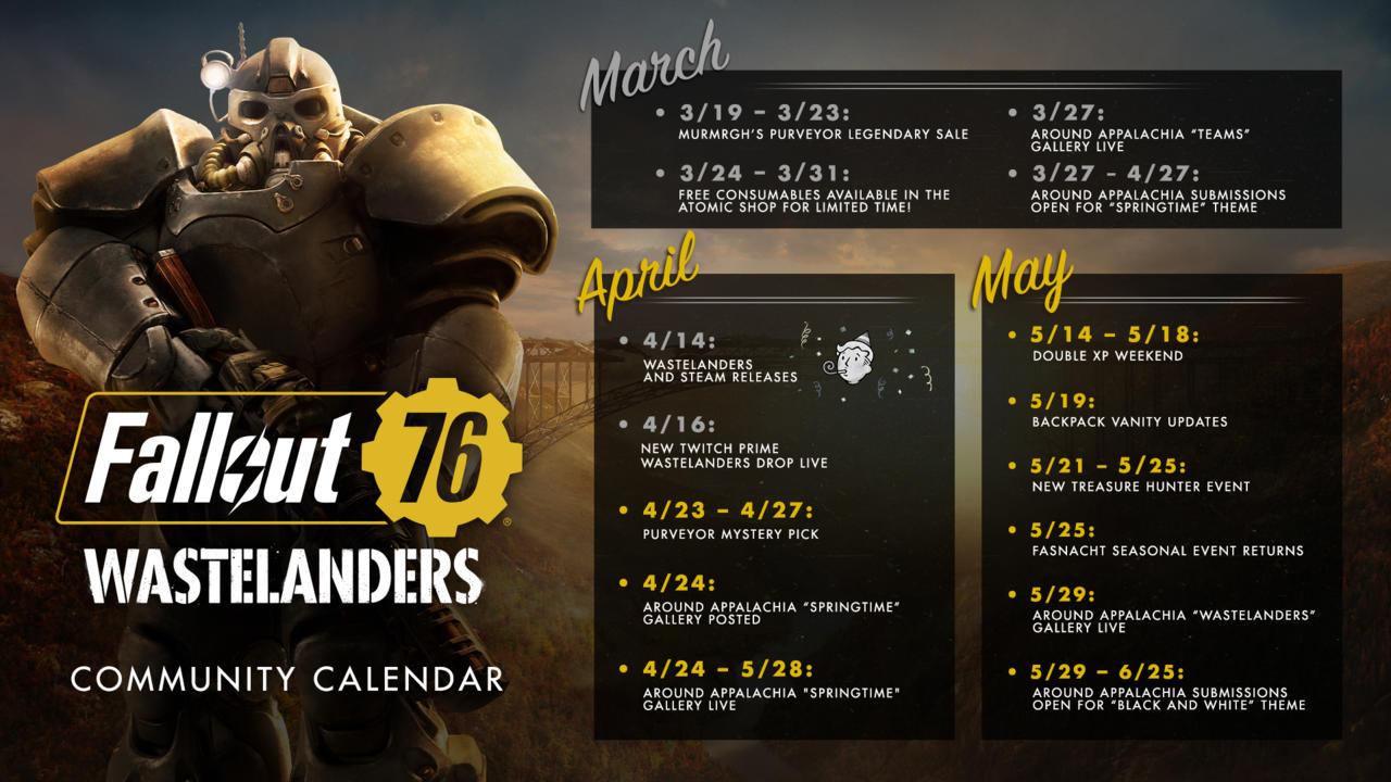 Fallout 76 يصدر تقويم المجتمع عن الشهر المقبل ويثير عودة Pts