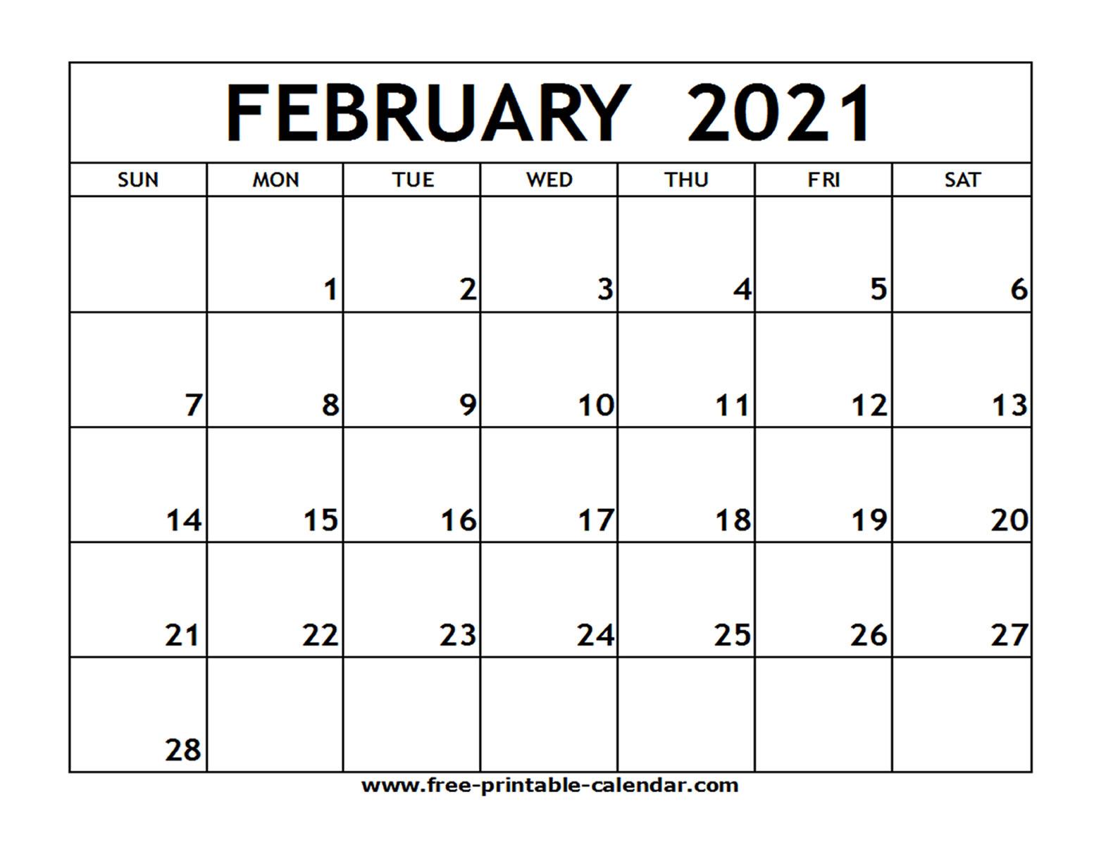 February 2021 Printable Calendar - Free-Printable-Calendar