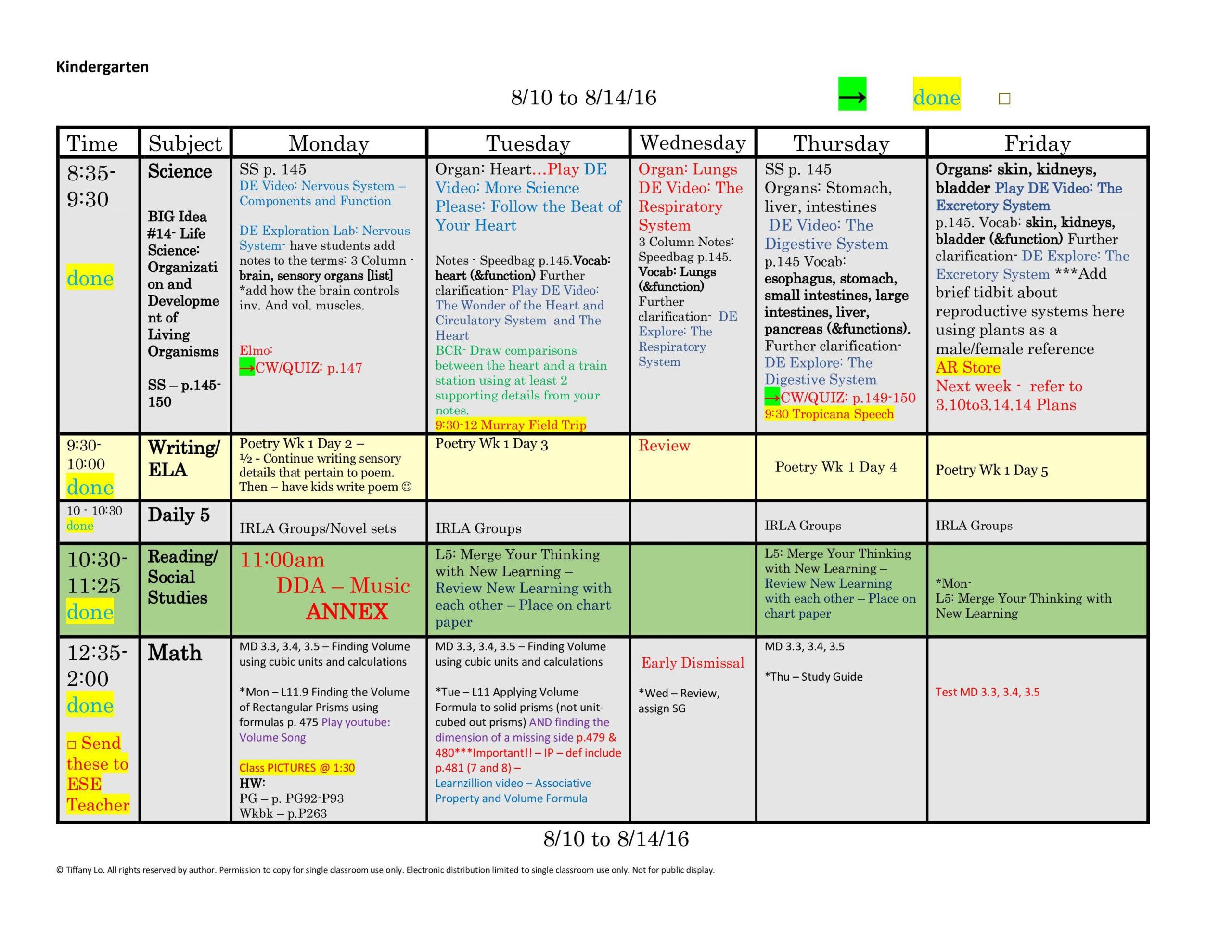 First Grade Lesson Plan Template Common Core ~ Addictionary