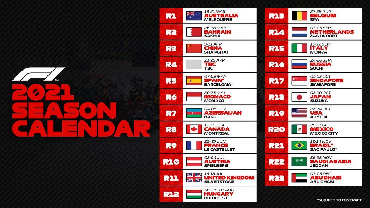 "Formula 1 On Twitter: ""Breaking: The 2021 #F1 Calendar Is"