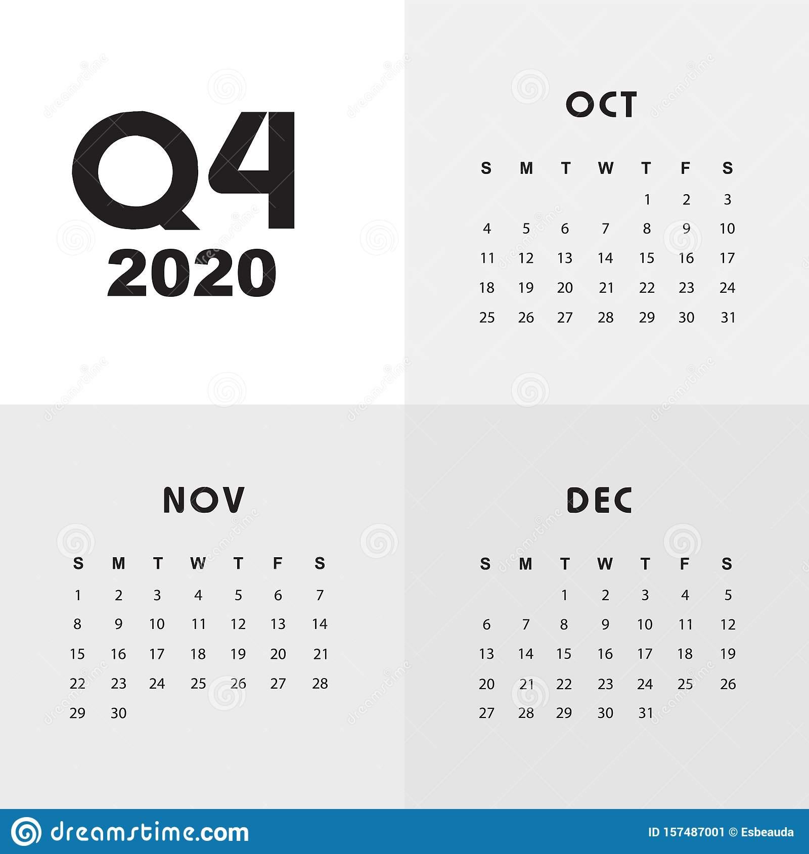 Fourth Quarter Of Calendar 2020 Stock Vector - Illustration