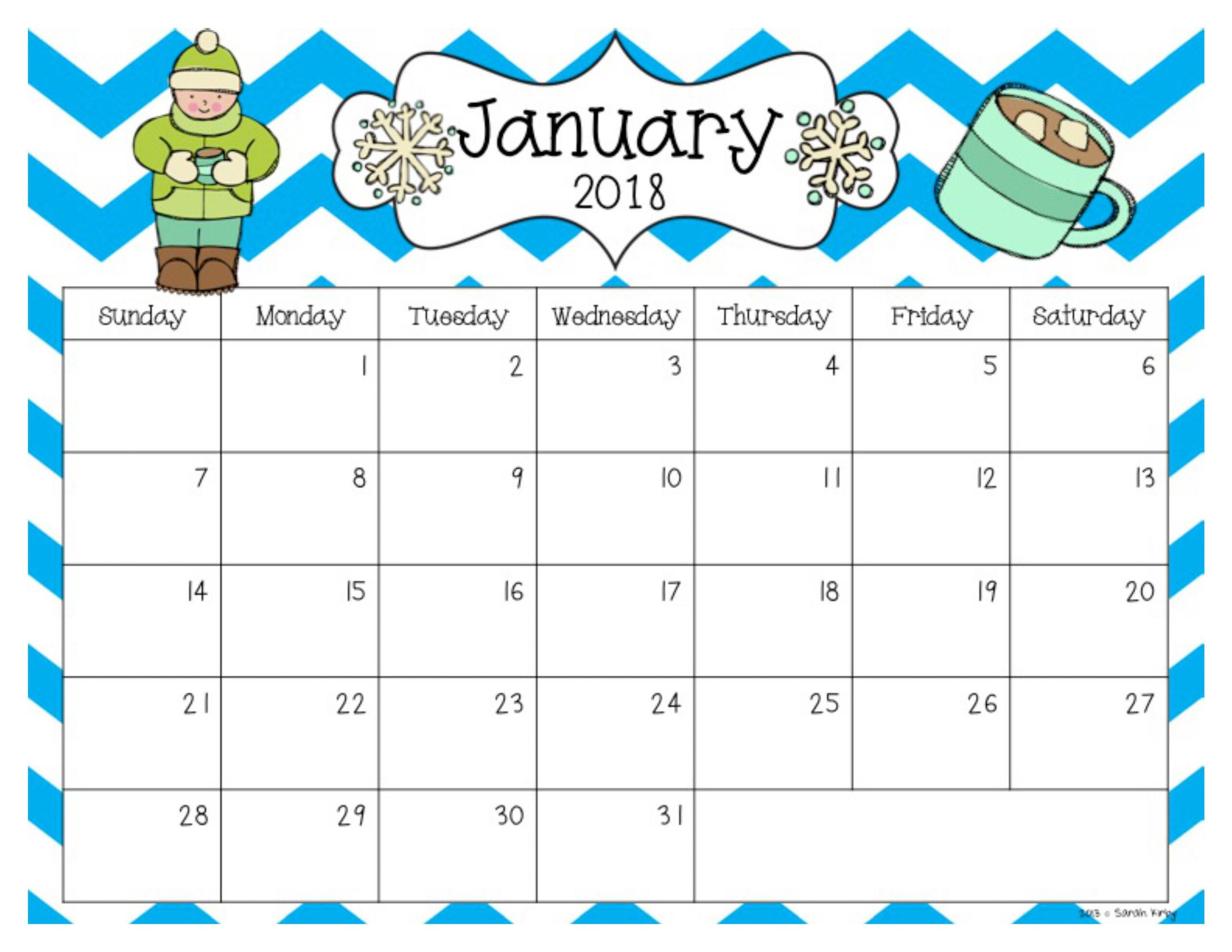 Free 2018 And 2019 Calendar | Editable Calendar Teacher