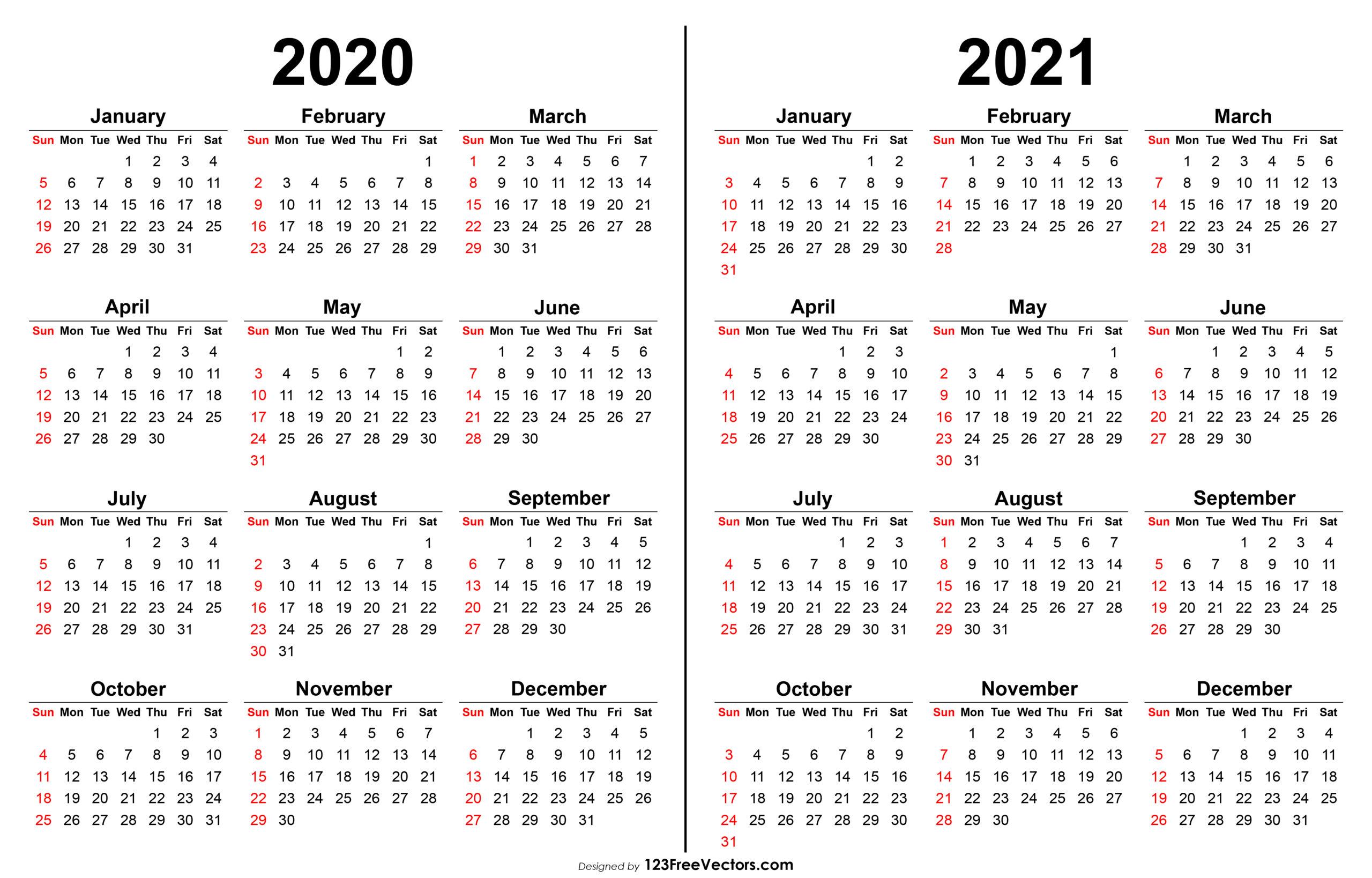 Free 2020 2021 Calendar