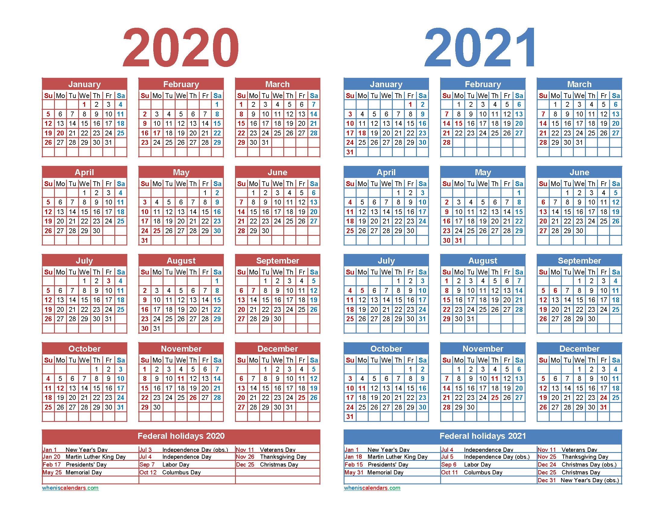 Free 2020 And 2021 Calendar Printable Word Pdf - Free