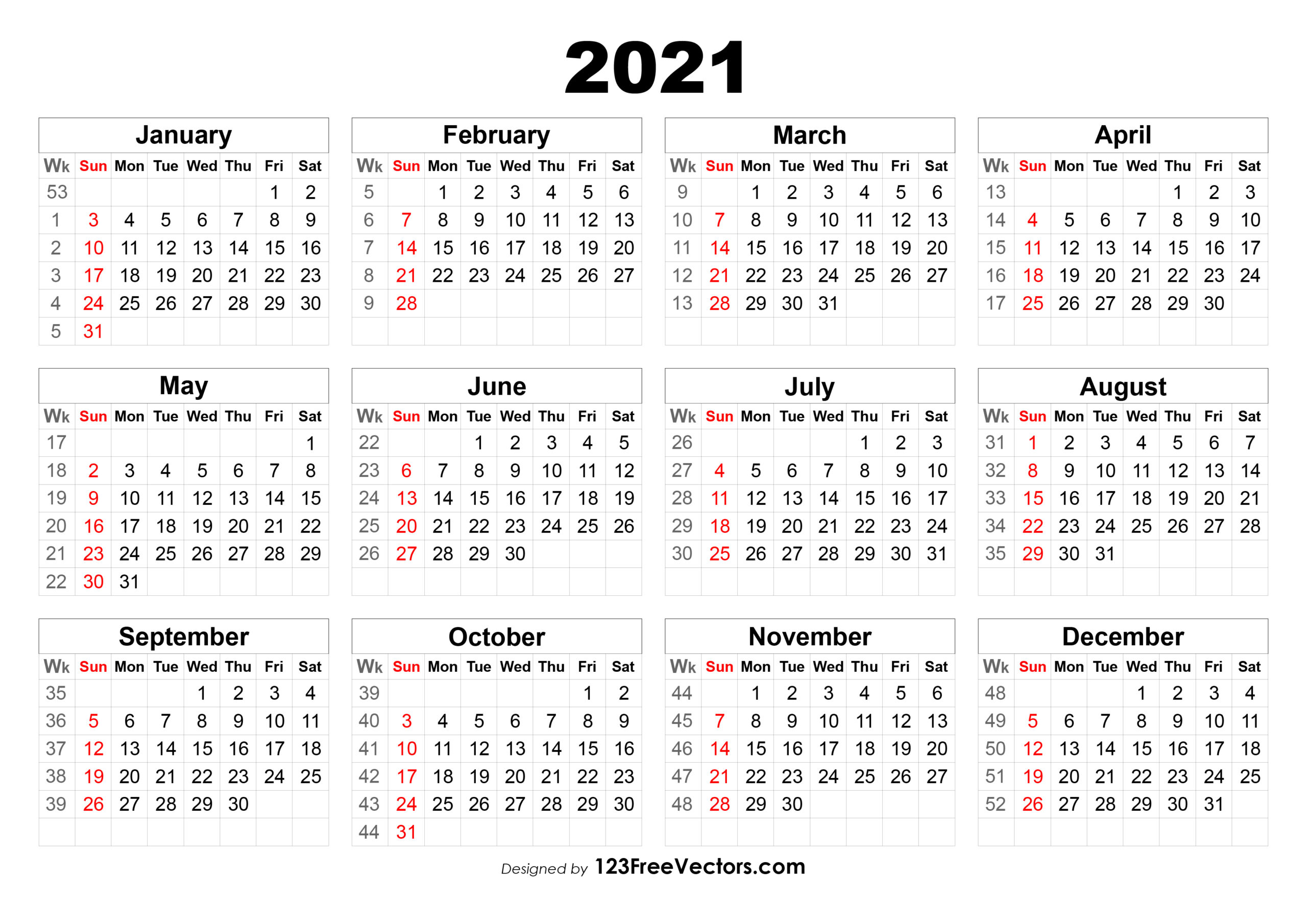 Free 2021 Calendar With Week Numbers