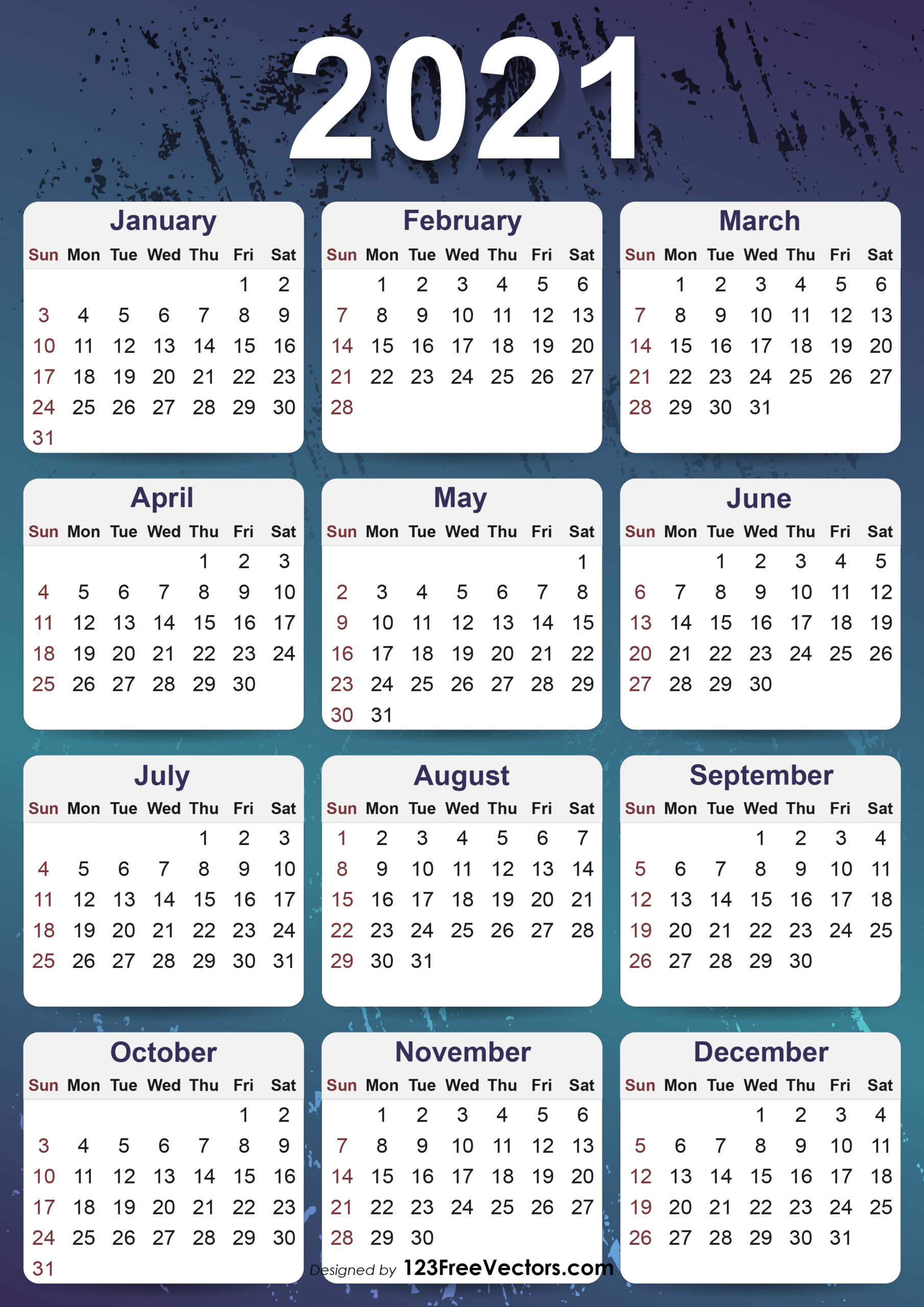 Free 2021 Yearly Calendar Template