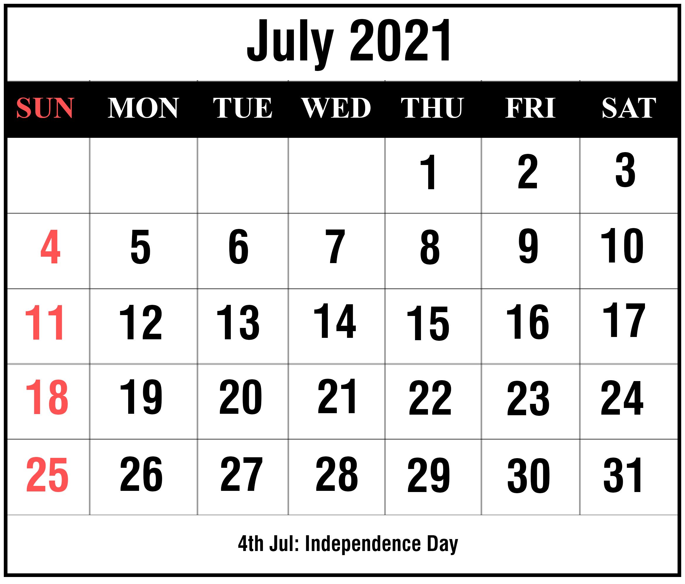 Free Blank July 2021 Printable Calendar Template In Pdf