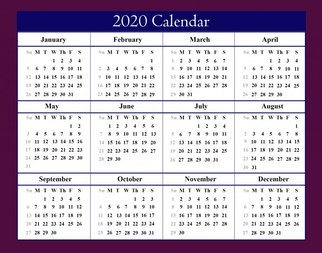 Free Blank Printable Calendar 2020 Template In Pdf Excel Word