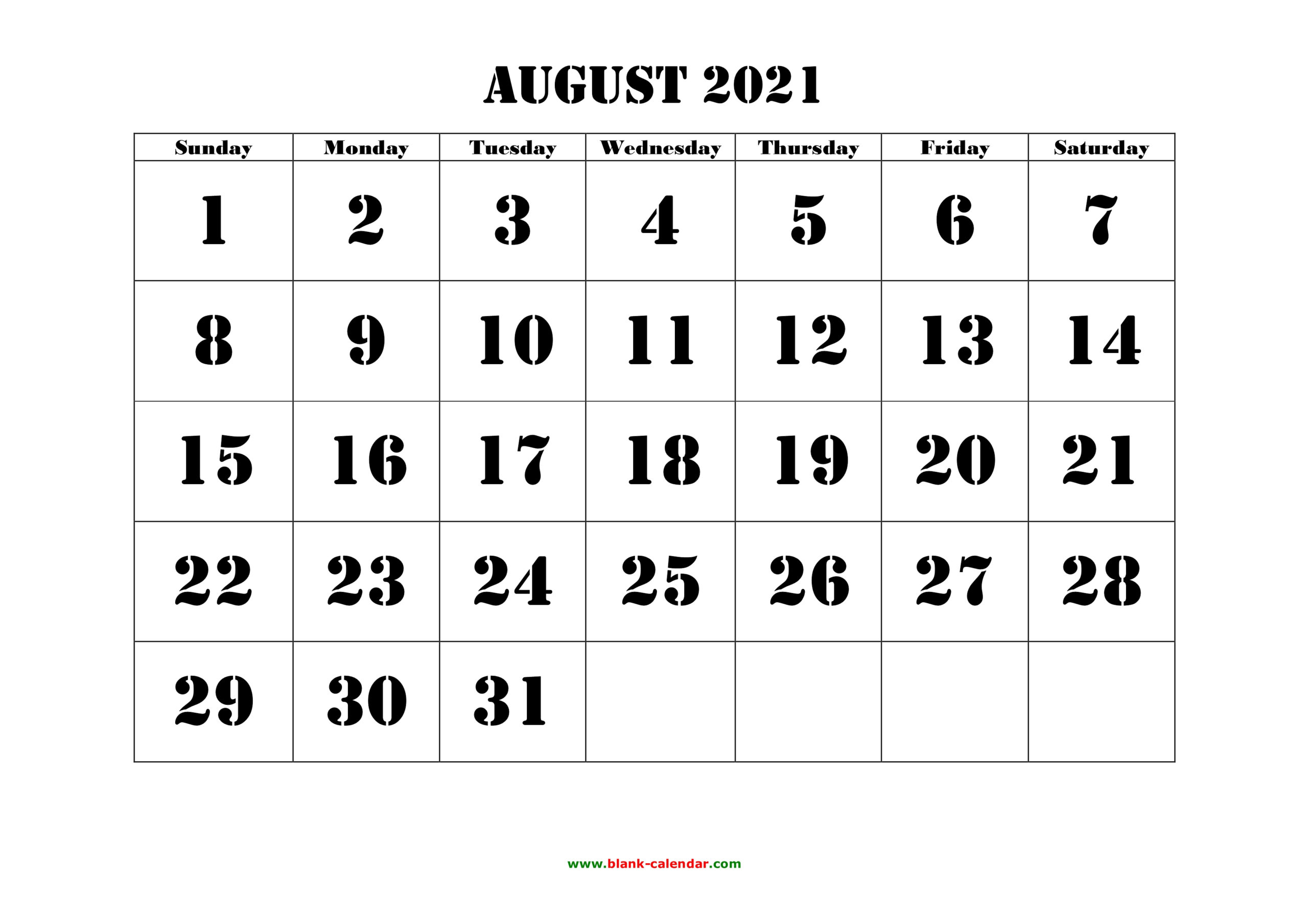 Free Download Printable August 2021 Calendar Large Font